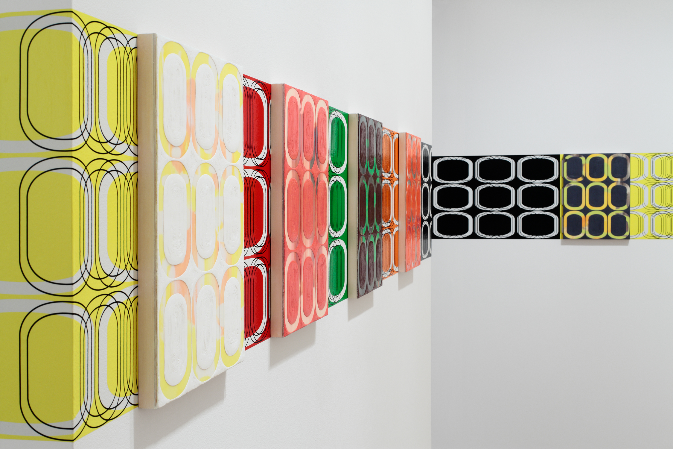 [installation]   SUMMER FRIEZE,  2010 Twenty-four oil and encaustic paintings, vinyl Dimensions variable
