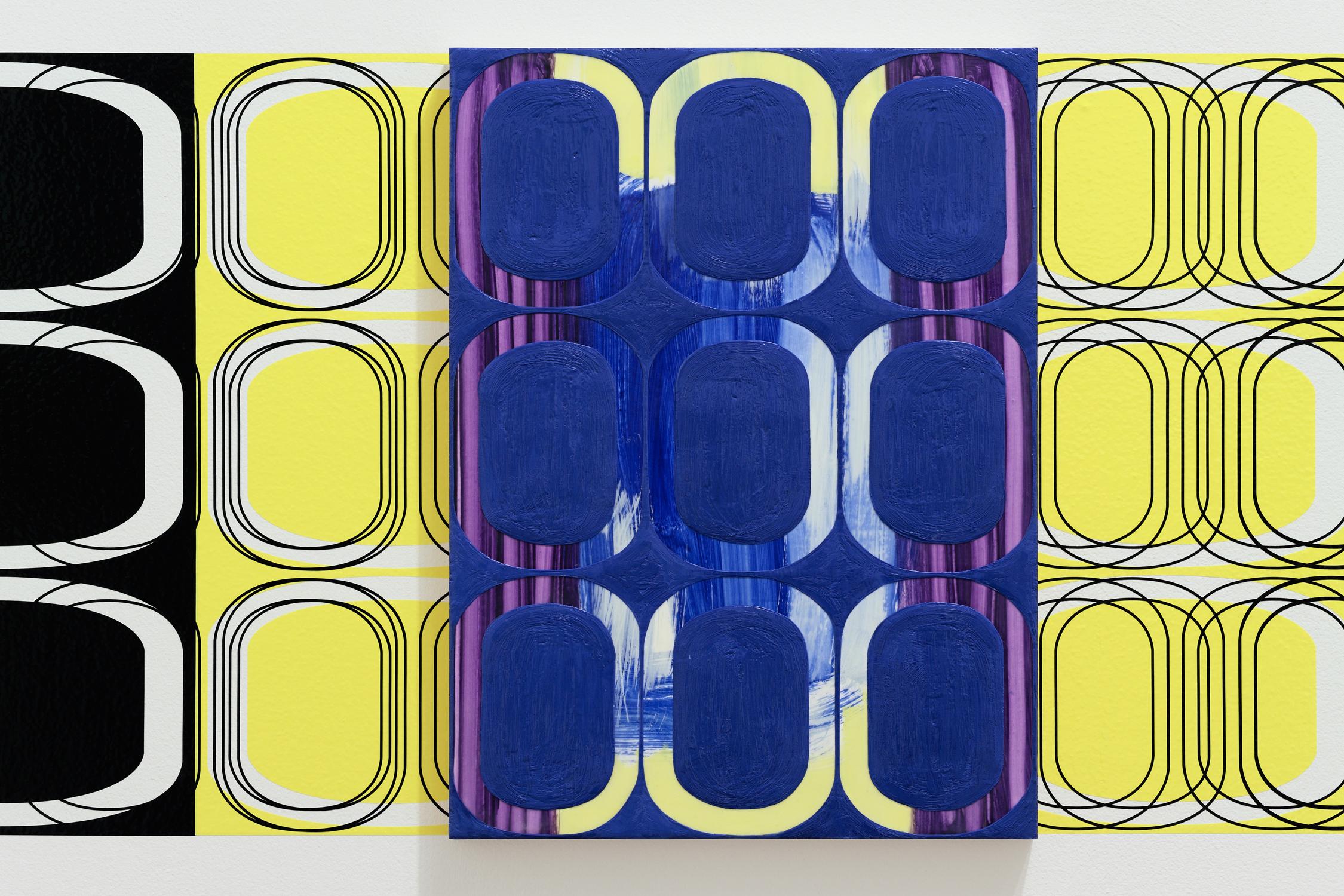 [installation]  SUMMER FRIEZE, 2010 Twenty-four oil and encaustic paintings,vinyl Dimensions variable
