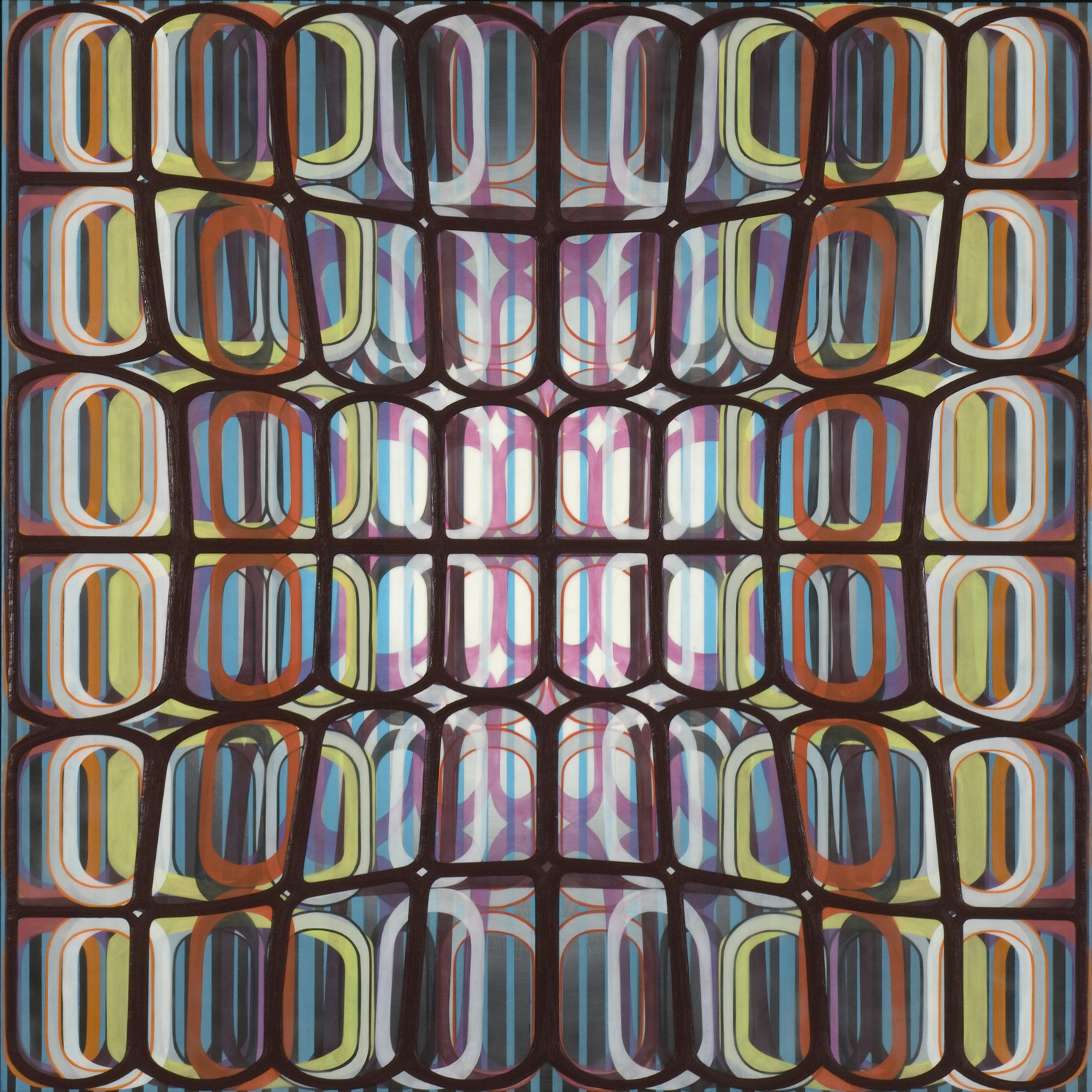 """Identical/Variation (pink, blue, green, black) #2, 2007 Oil and encaustic on panel 36"""" x 36"""" x 2"""""""