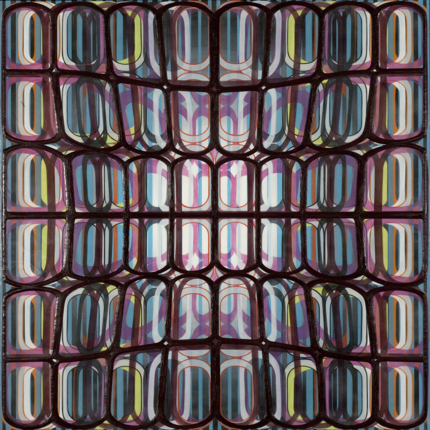 """Identical/Variation (pink, blue, green, black) #3, 2007 Oil and encaustic on panel 36"""" x 36"""" x 2"""""""