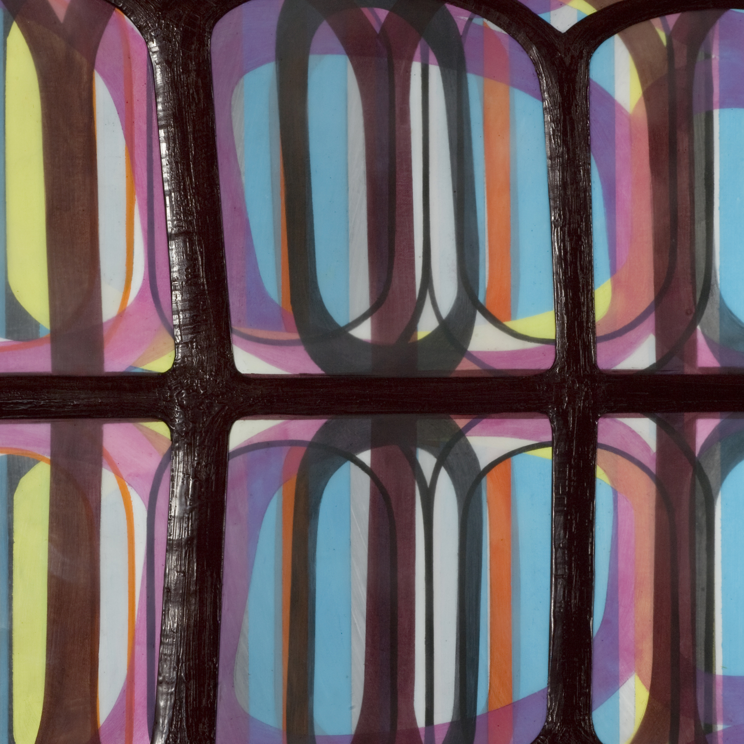 """[detail]  Identical/Variation (pink, blue, green, black) #3, 2007 Oil and encaustic on panel 36"""" x 36"""" x 2"""""""
