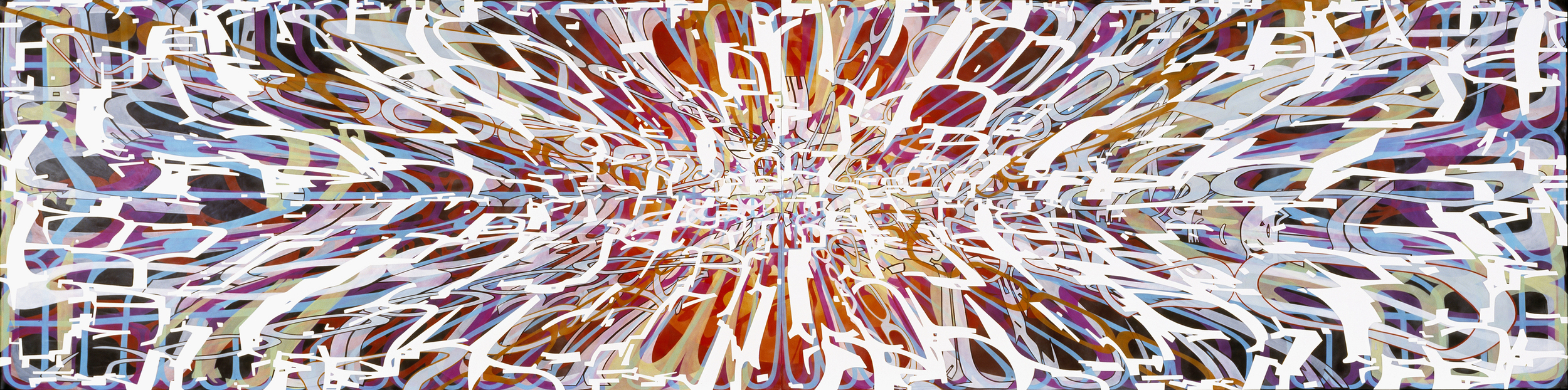 """Variation/Mutation (black, red, blue, white), 2008 Oil and encaustic on two panels 36"""" x 144"""" x 2"""""""