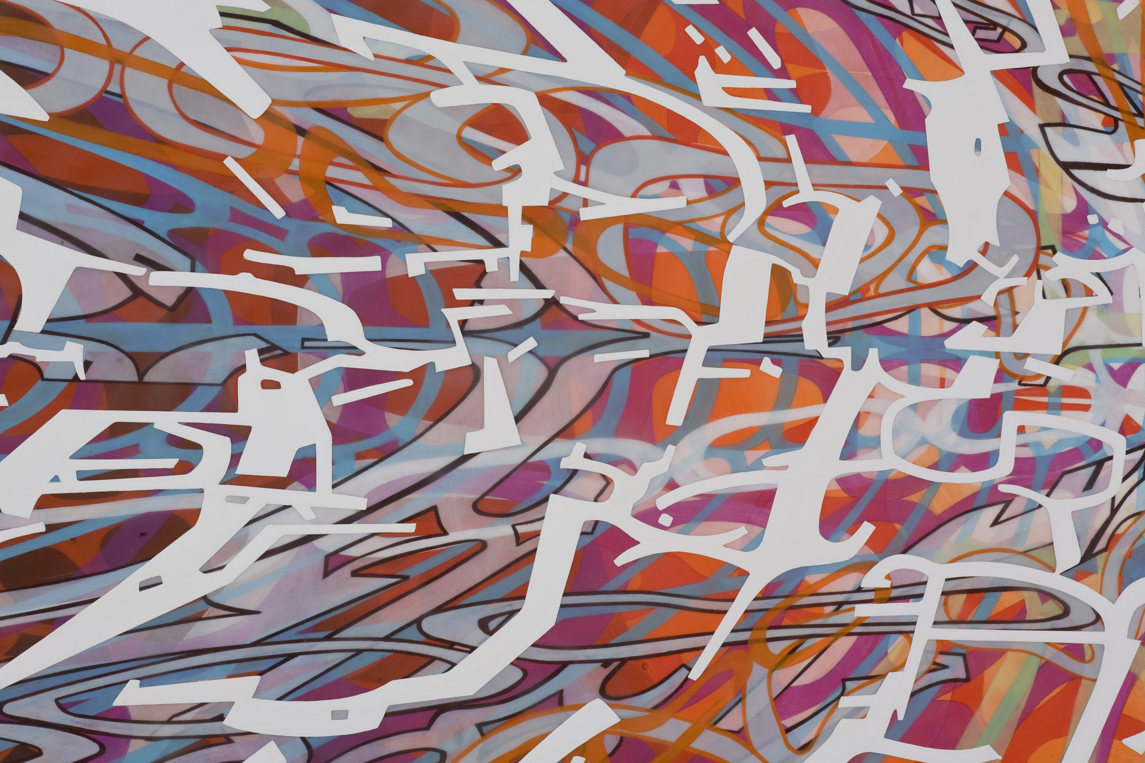 """[detail]  Variation/Mutation (black, red, blue, white), 2008 Oil and encaustic on two panels 36"""" x 144"""" x 2"""""""
