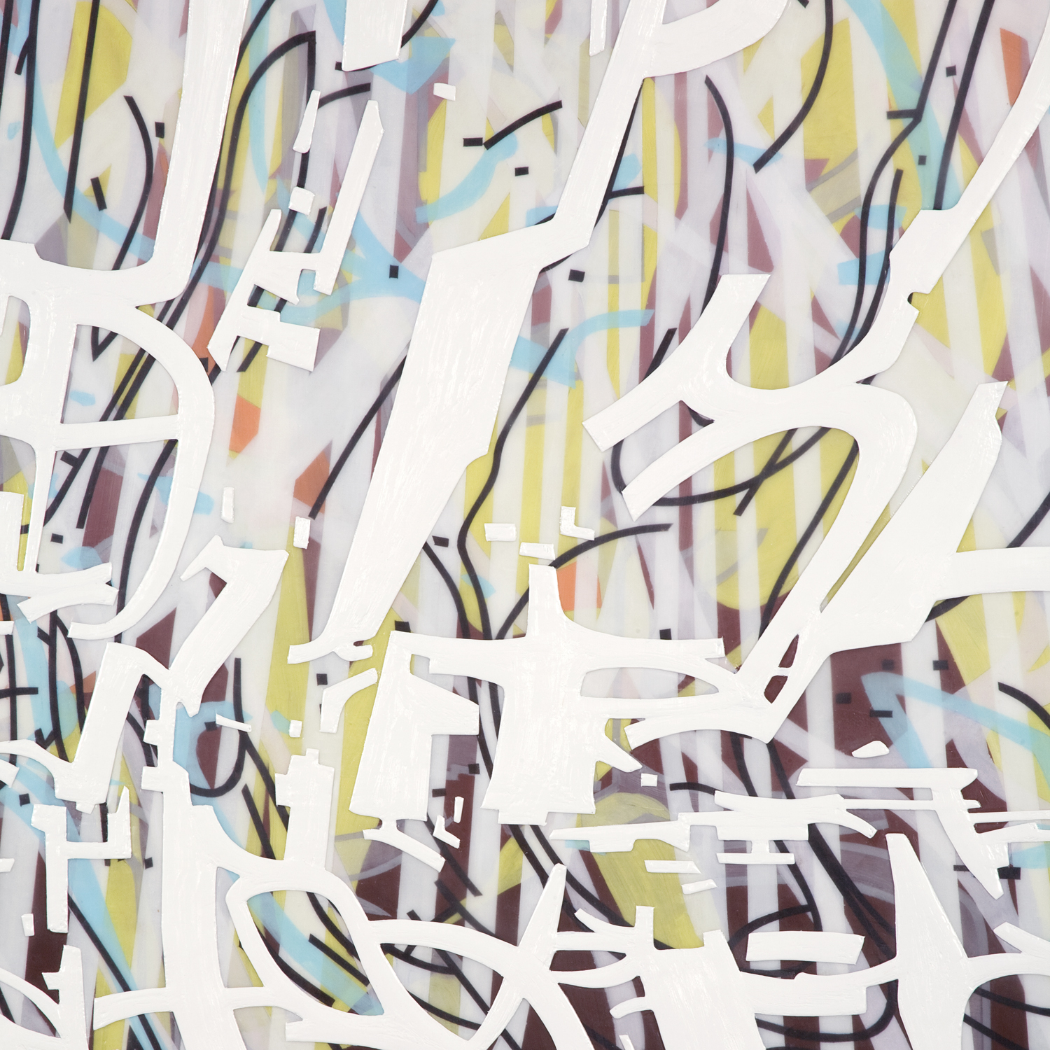 """[detail]  Variation/Mutation (green, blue, black, white), 2008 Oil and encaustic on two panels 78"""" x 72"""" x 2"""""""