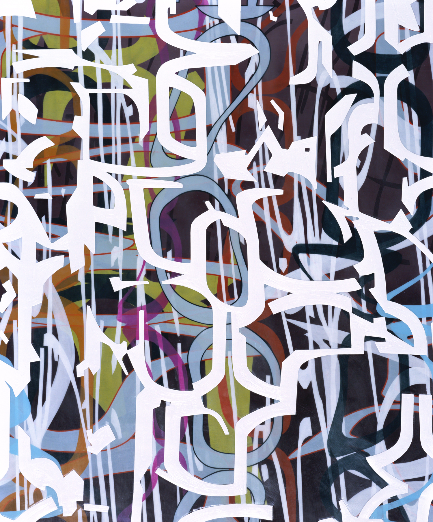 """[detail]  Variation/Mutation (cascade), 2008 Oil and encaustic on four panels 132"""" x 78"""" x 2"""""""