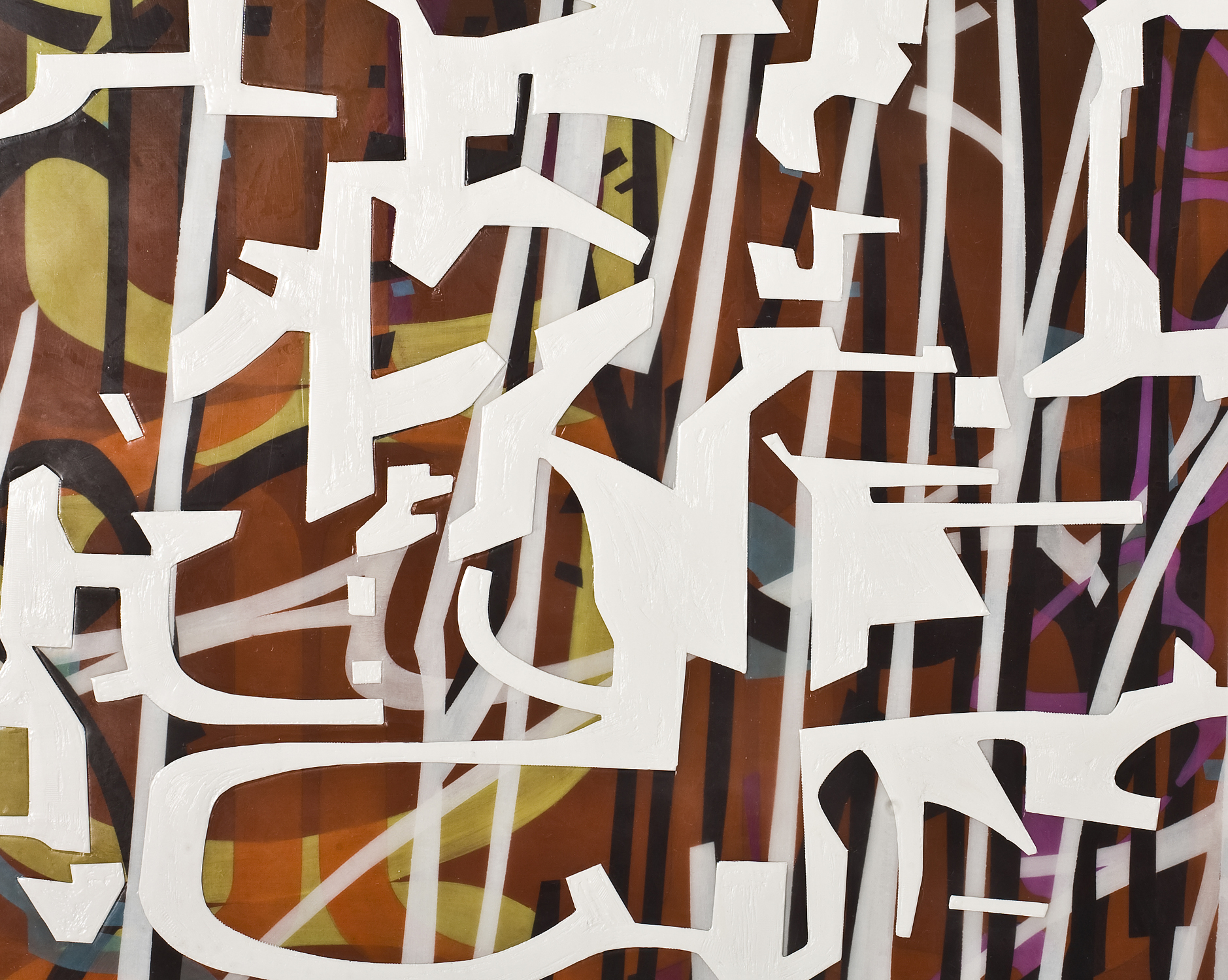 """[detail]  Variation/Mutation (umber, red, violet, white), 2008 Oil and encaustic on two panels 72"""" x 78"""" x 2"""""""