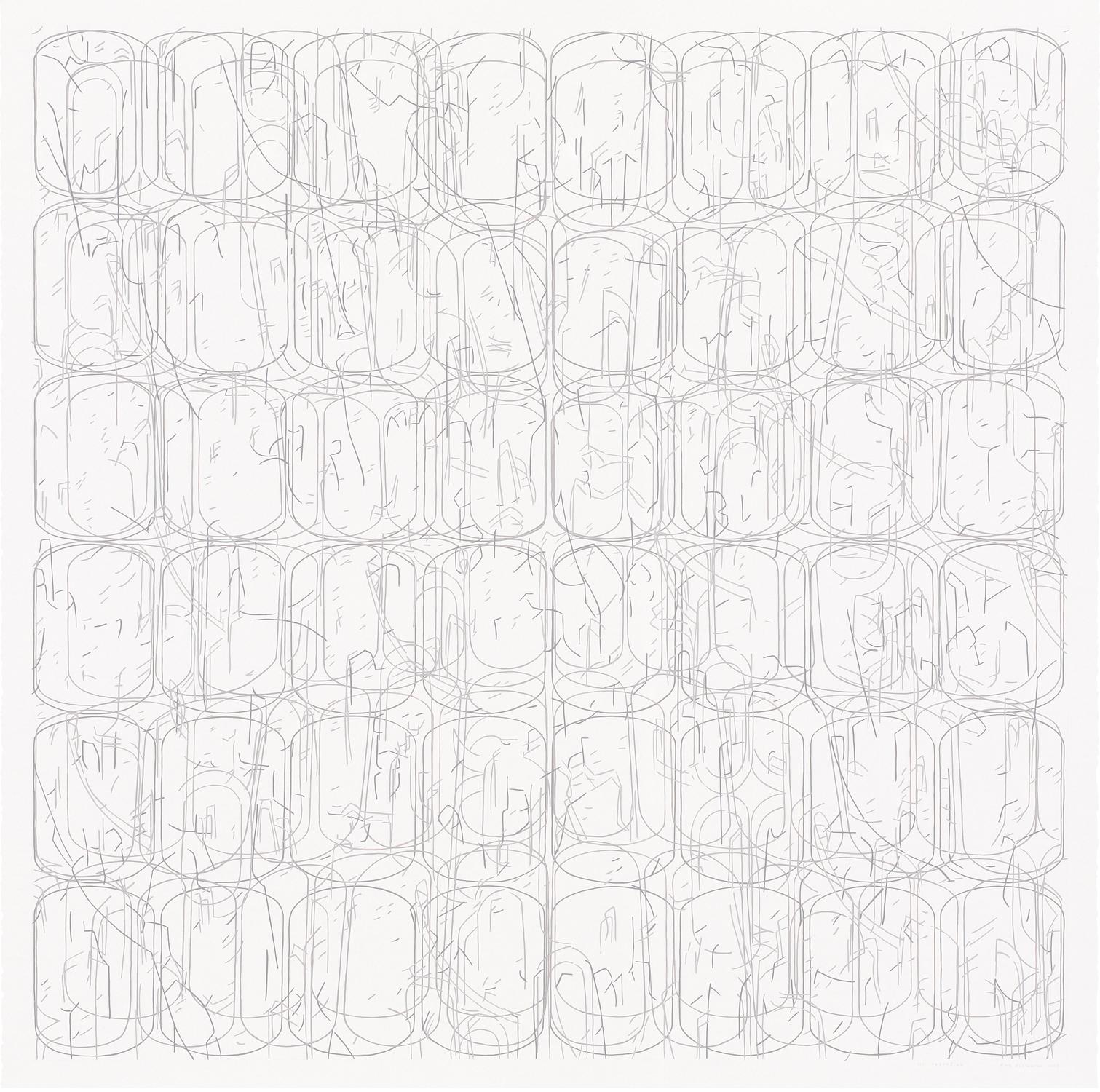 "No. 062008.02, 2008 Gouache on Rising Stonehenge paper 38"" x 38"" (41"" x 41"" framed)"