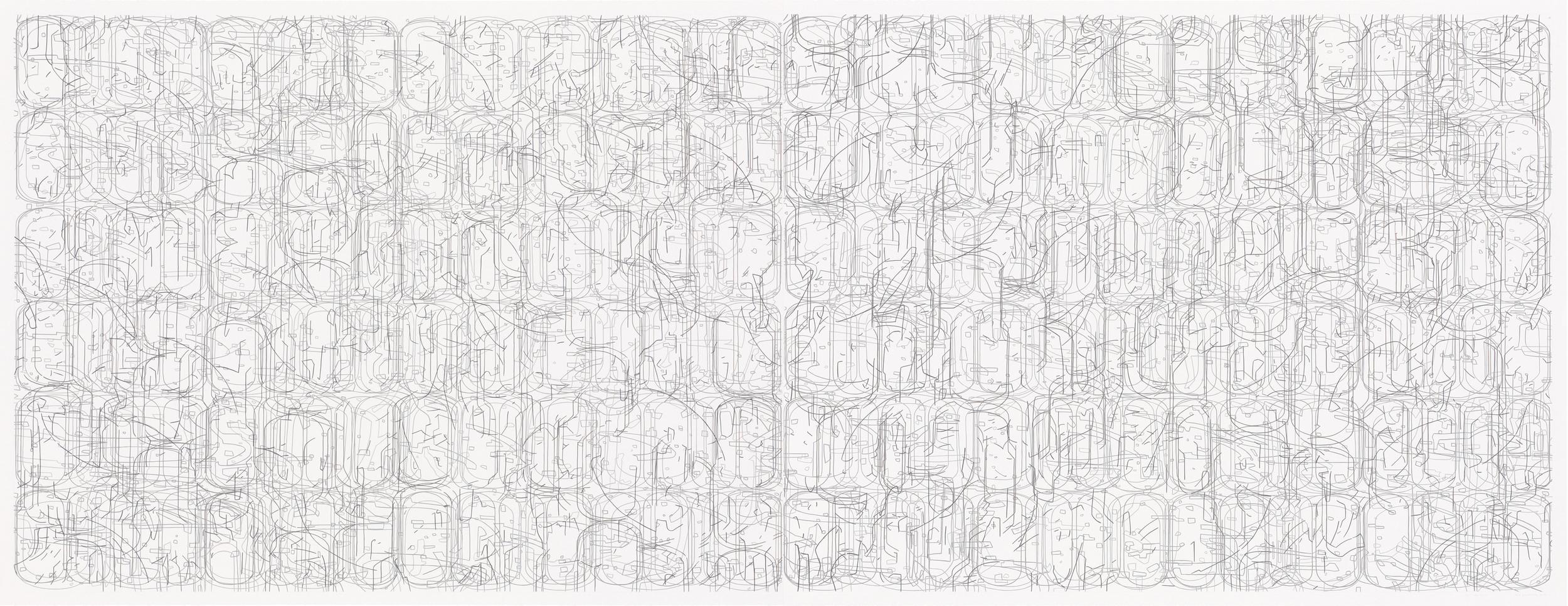 "No. 070308.01, 2008 Gouache on Rising Stonehenge paper 38"" x 98"" (42"" x 102"" framed)"