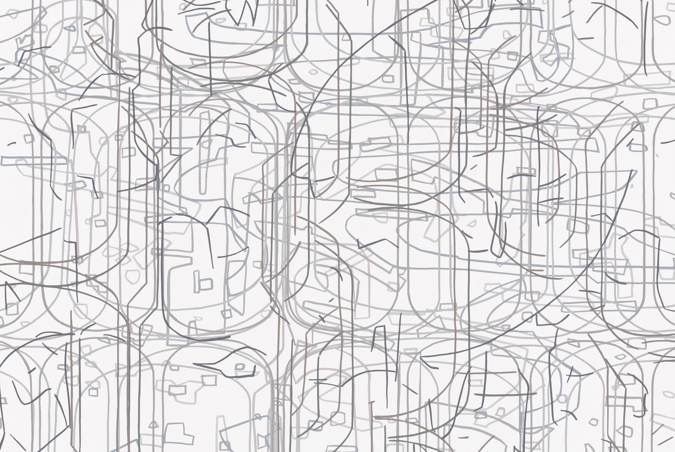"[detail]  No. 070308.01, 2008 Gouache on Rising Stonehenge paper 38"" x 98"" (42"" x 102"" framed)"