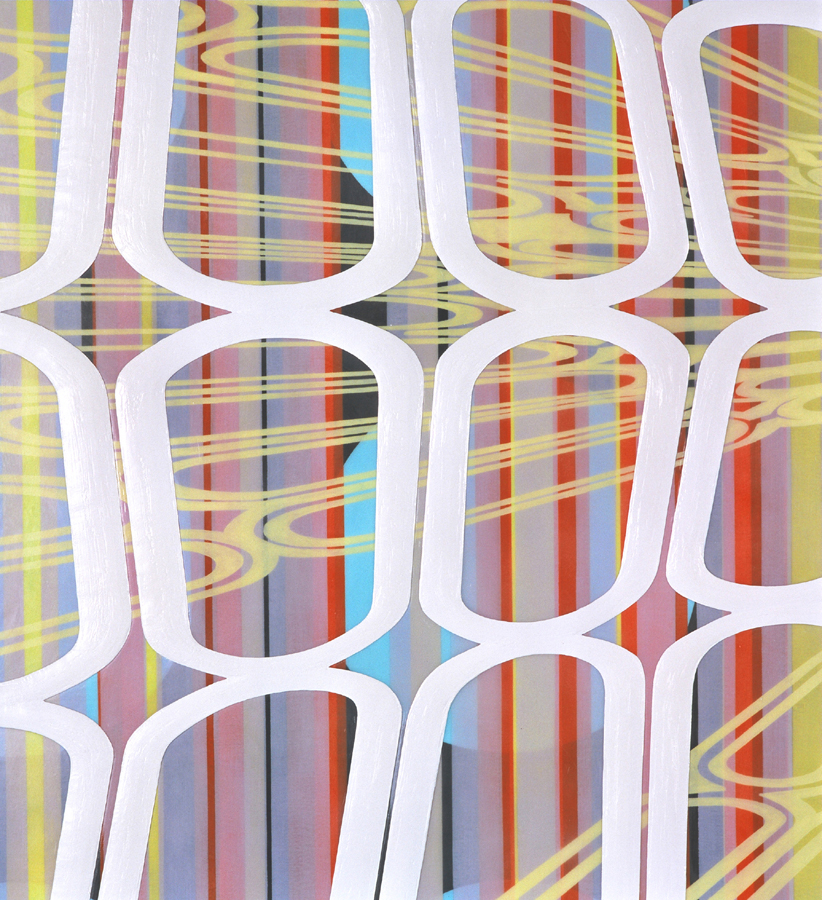 """[detail]  Straight/curved Variation/Mutation (black, blue, yellow, white), 2004 Oil and encaustic on two panels 78"""" x 72"""" x 2"""""""