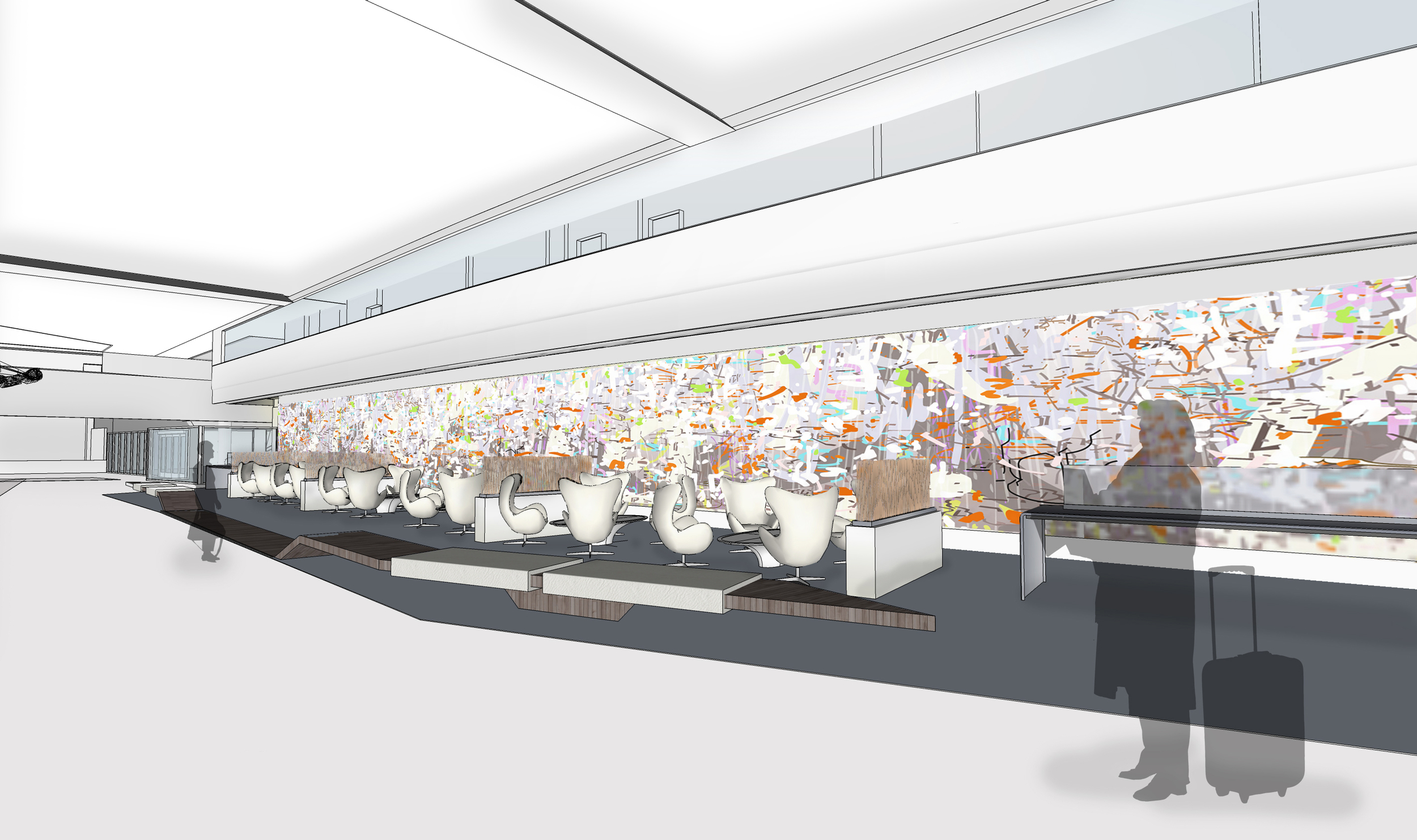 Architectural rendering of Terminal 3, with ghostly travelers.