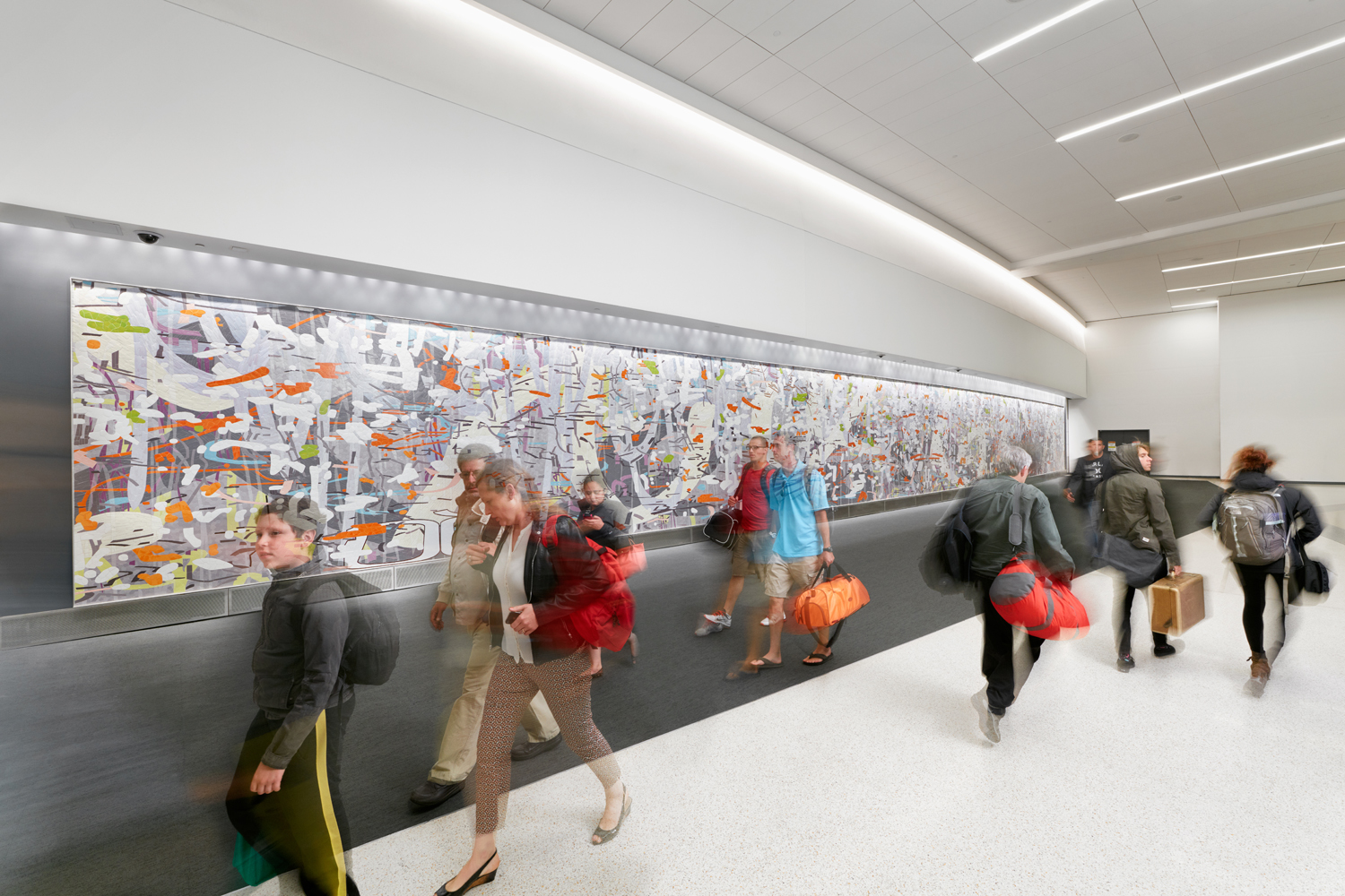Untitled (Large Variation),  ceramic mosaic mural, 10' x 109,' San Francisco International Airport, Terminal 3
