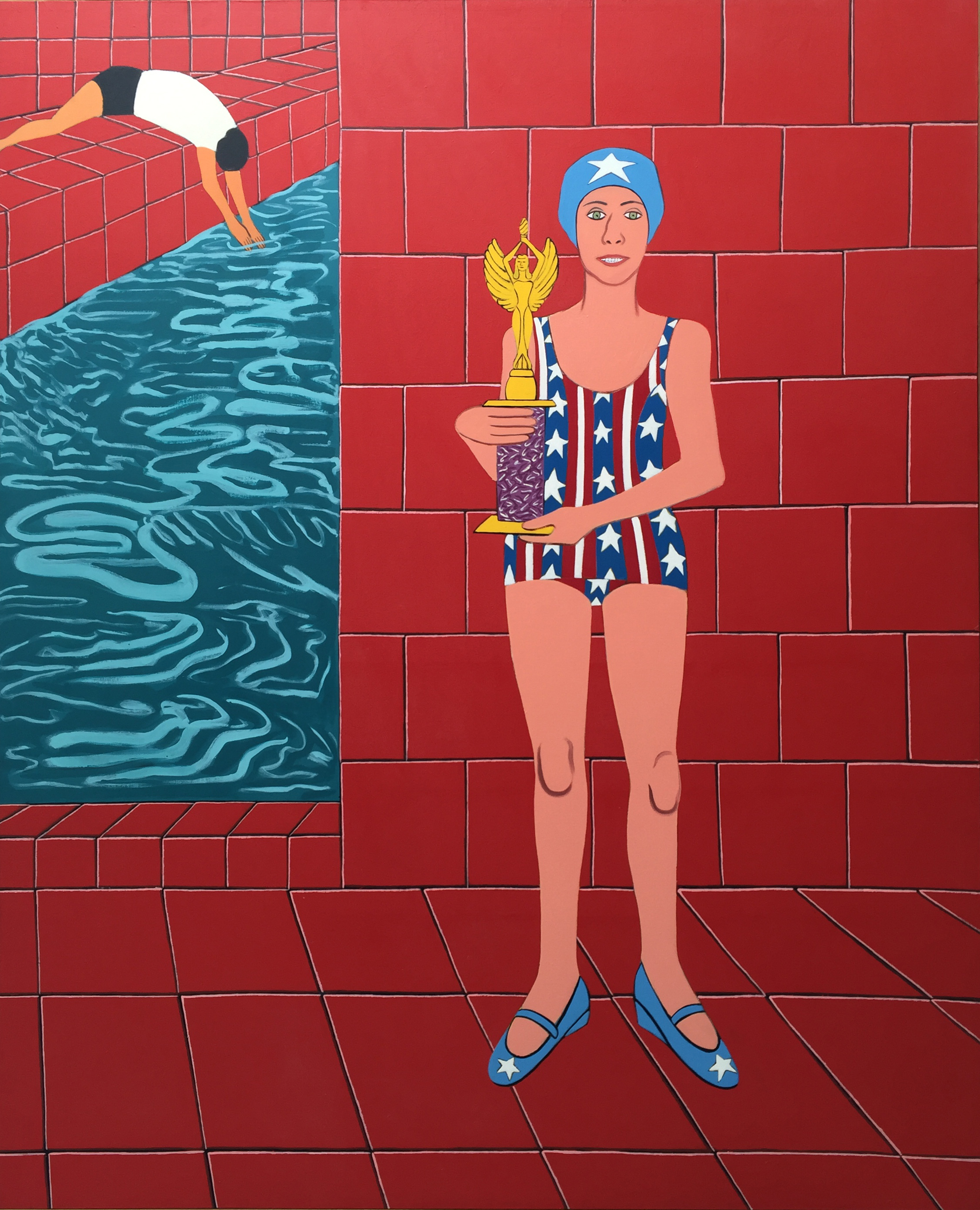JOAN BROWN,  The Bicentennial Champion,  1976 ,  oil and enamel on canvas, 96 x 78 inches