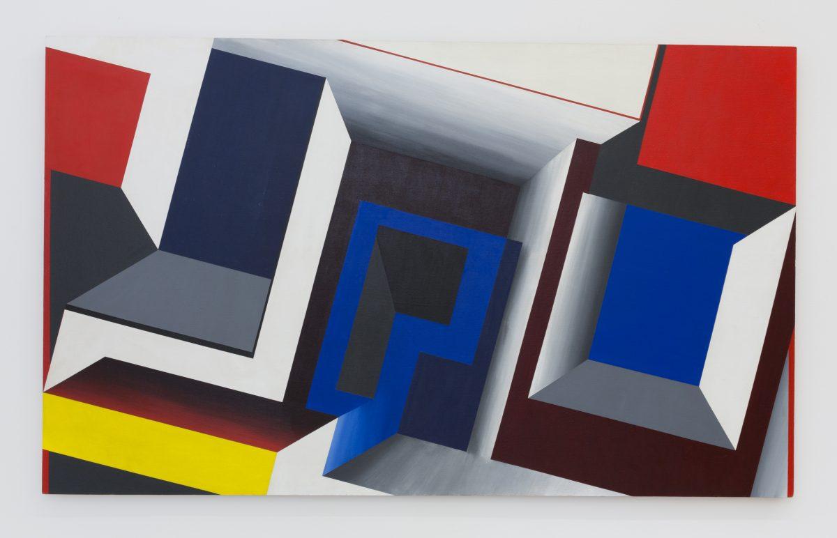 SUZANNE BLANK REDSTONE,  Portal - Descent,  1968. Acrylic on   masonite, 41 x 74.5 inches
