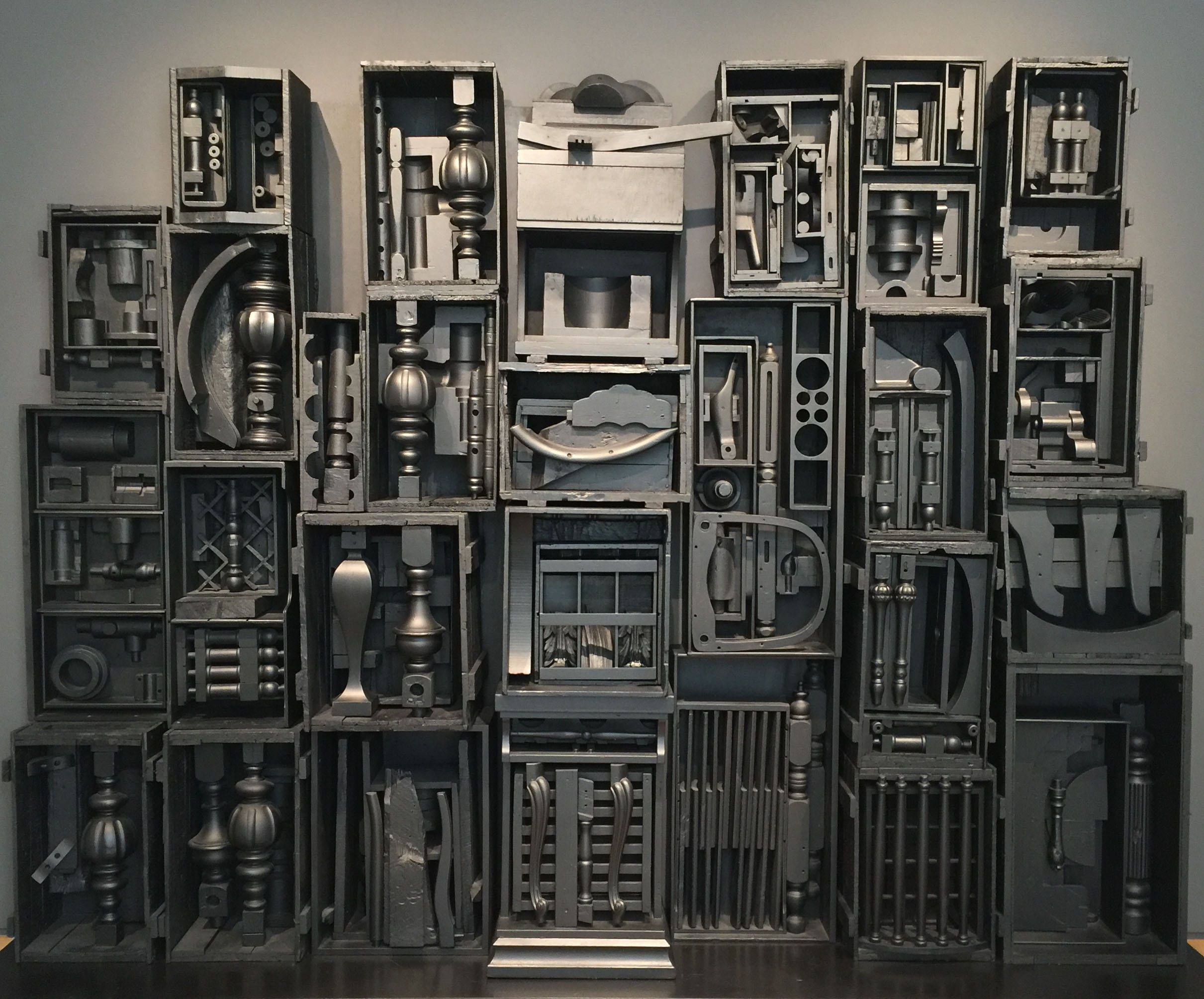 LOUISE NEVELSON,  Untitled,  1964 I love the satiny black of this piece, which reads almost like graphite. Once your eyes adjust to the value scale, the whole piece comes into focus.