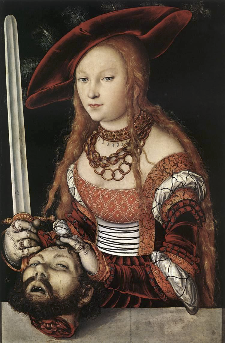 Lucas Cranach the Elder,  Judith with the Head of Holofernes , c. 1530 (The sword! The hands!)
