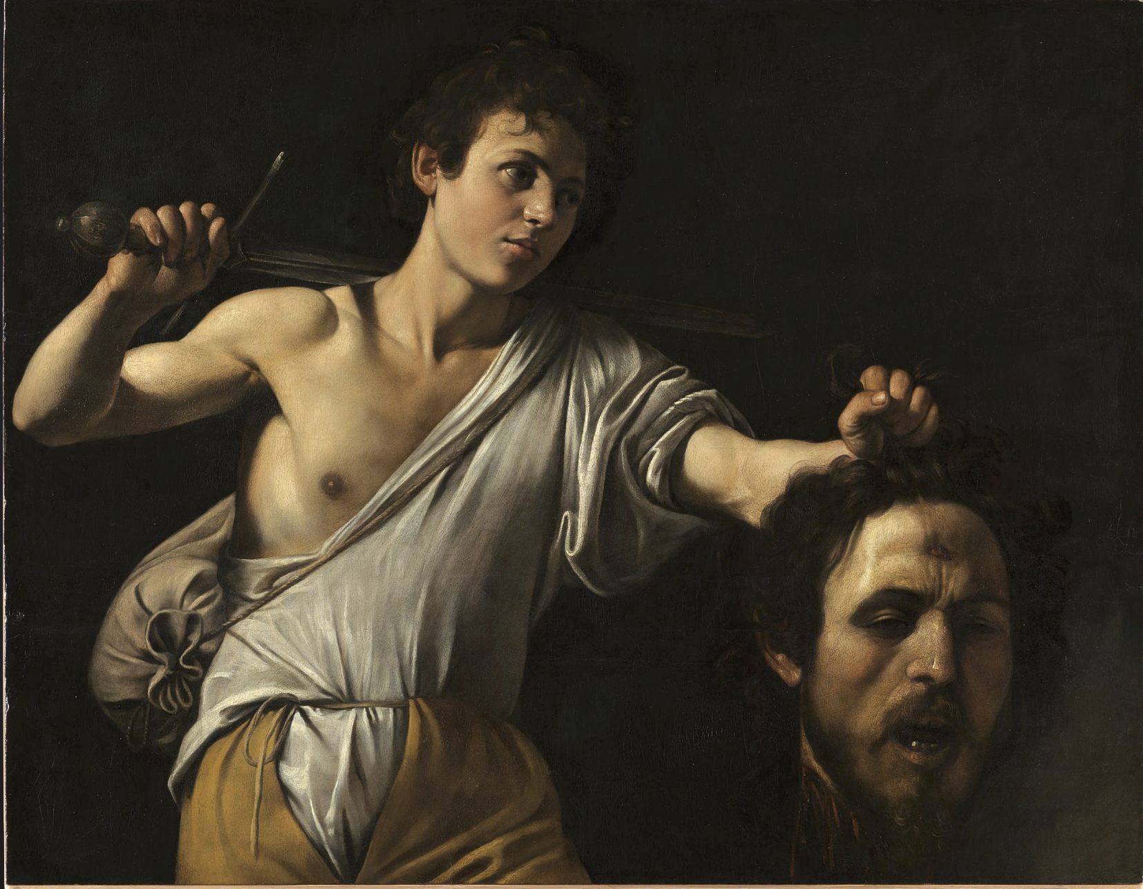 Caravaggio,   David with the Head of Goliath  , c. 1607 (Um, what's with his shirt, pants and the opening of his shoulder bag?)