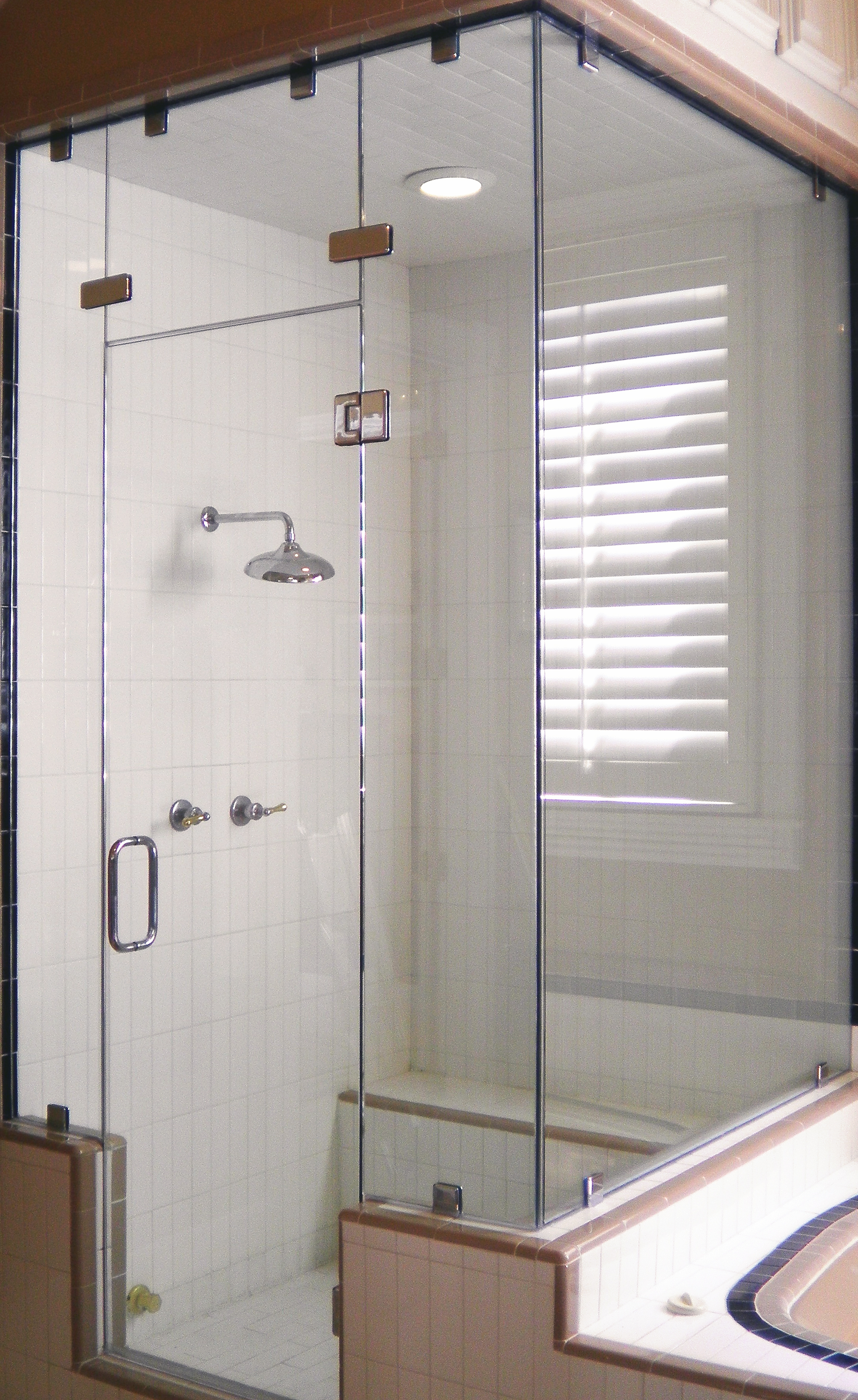Glass Steam Shower Enclosure, 90 Degrees with Transom