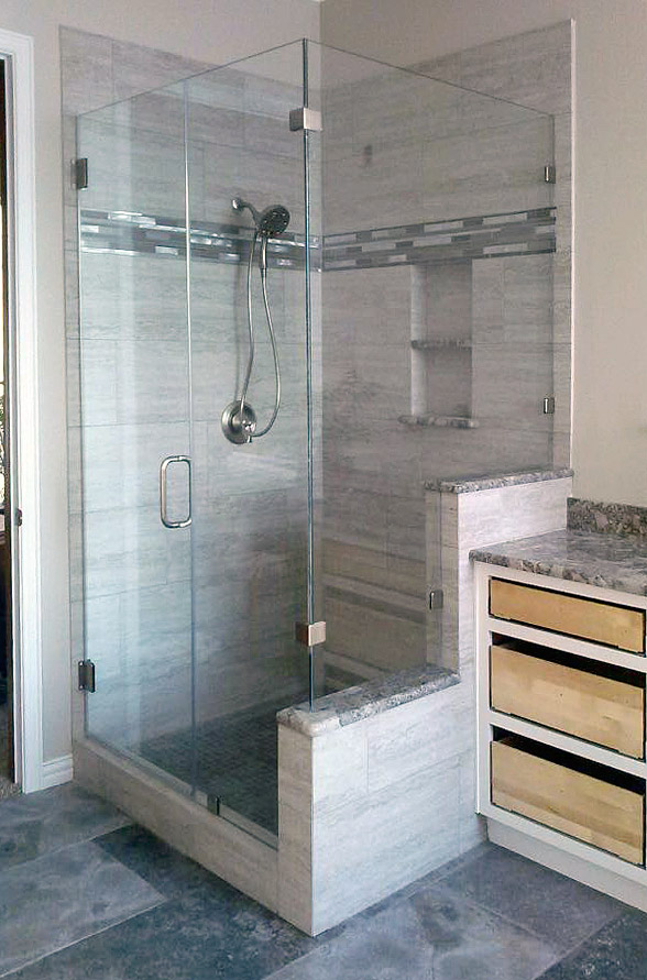 90-Degree Frameless Shower Door and Enclosure