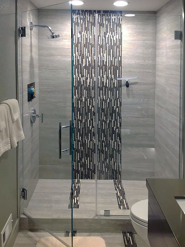 Shower Door & Panel with Ladder Pull Handle