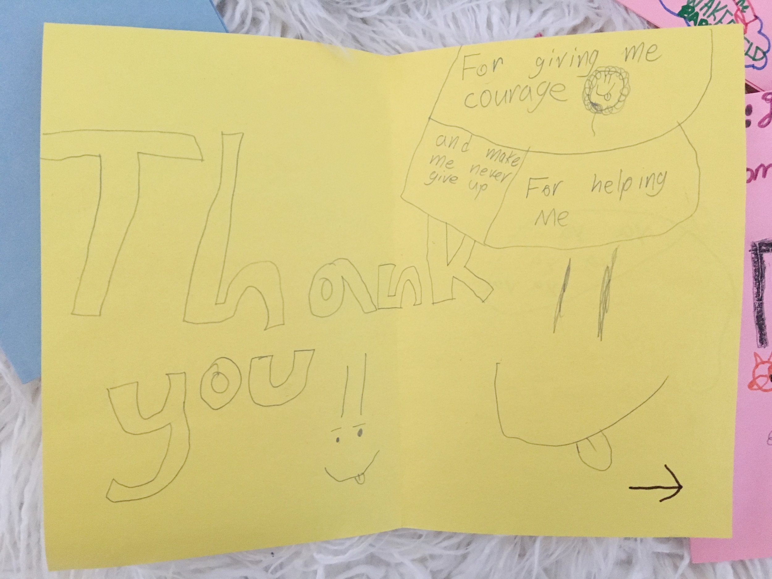 A special thank you note from one of the students from Ms. Her's class.
