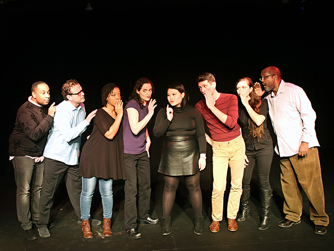 Cast left to right: Shana Eisenberg, Daniel Sakamoto-Wengel, Ashawnti Ford, Gaosong V. Heu, Matthew Thompson, James A. Williams [first weekend only], Marcos Lopez, Ricardo Beaird, Siddeeqah Shabazz, Elizabeth Cates, and not pictured: Daniel Coleman [last two weekends] - photography by Linda Bachman)
