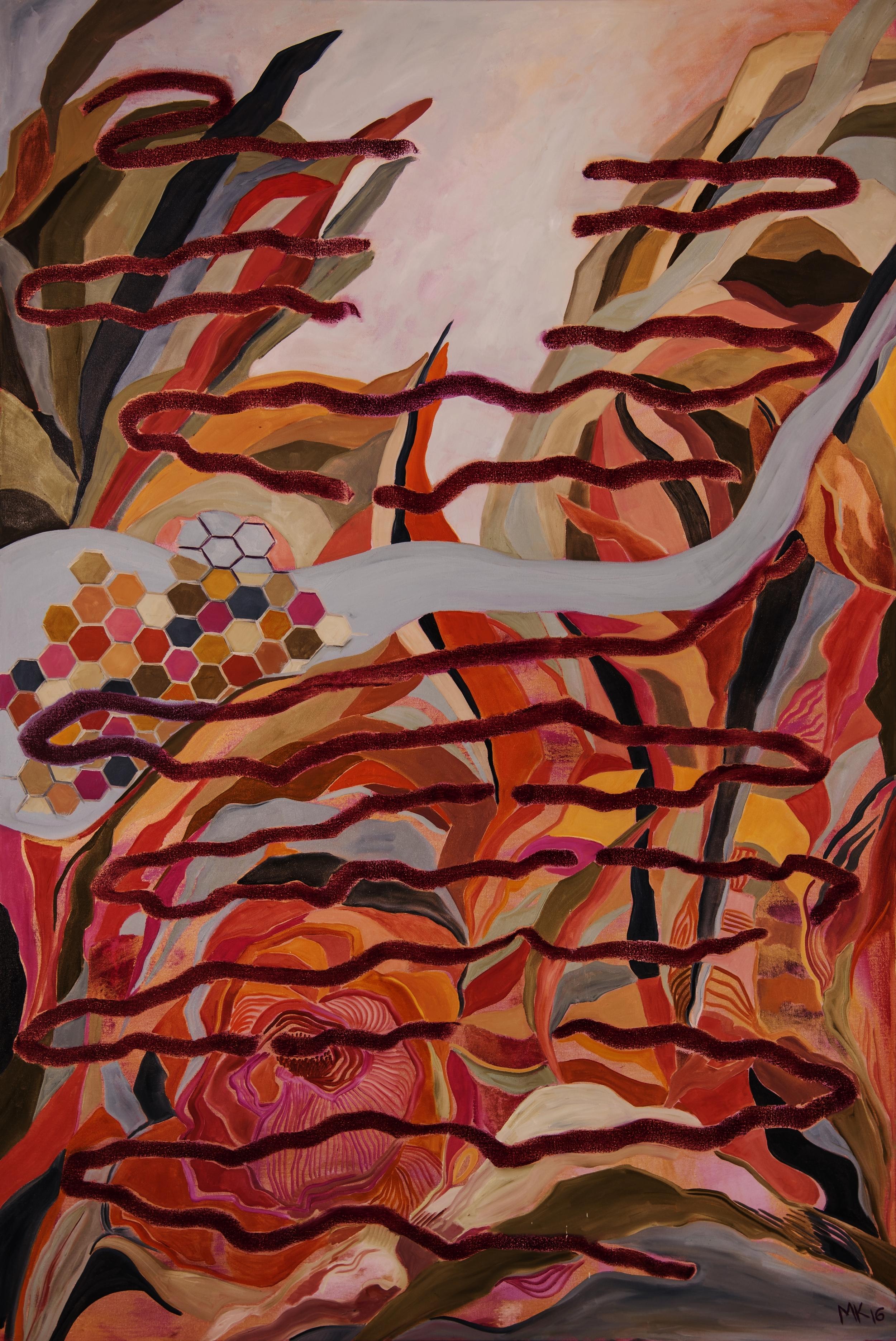 "MK 2016, Roots of Feeling XIX, Oil on Canvas, 72"" x 48"""