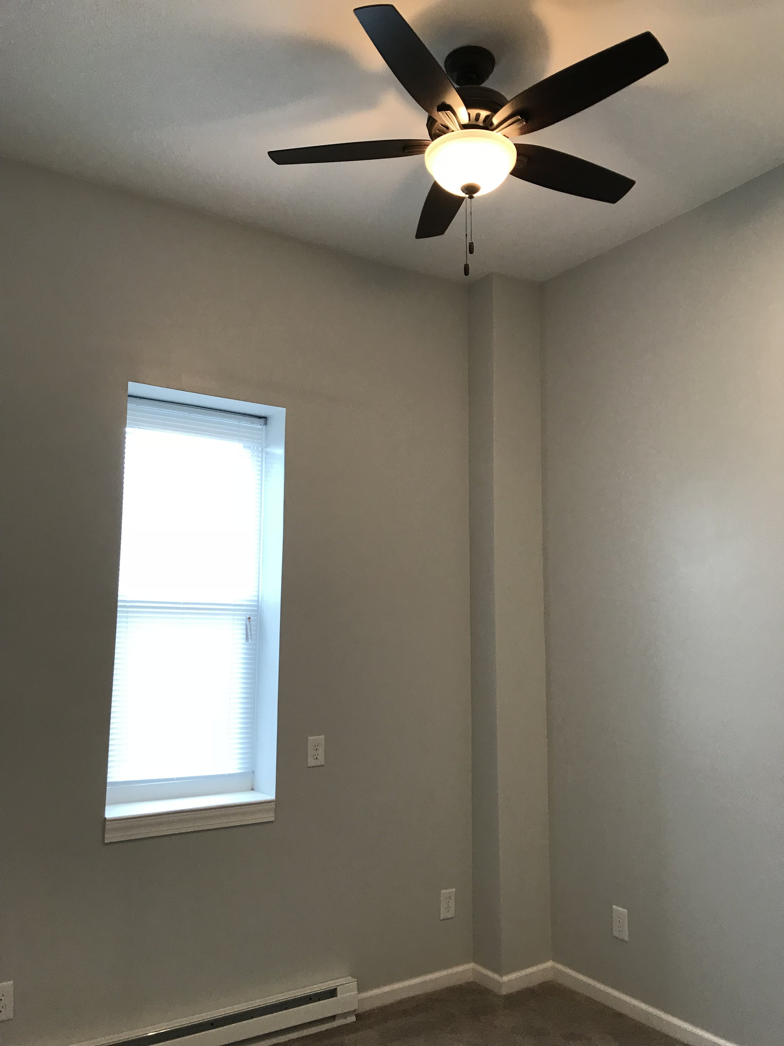 Bedroom Ceiling Fan and Recessed Lights
