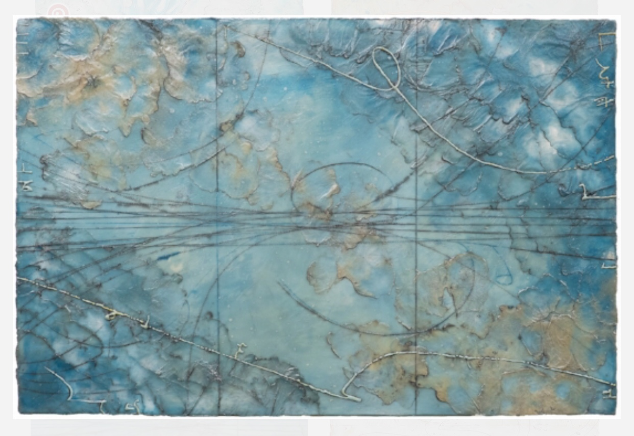 Glacial Topography , encaustic and oil on panel 20 x 30 inches by Elise Wagner.