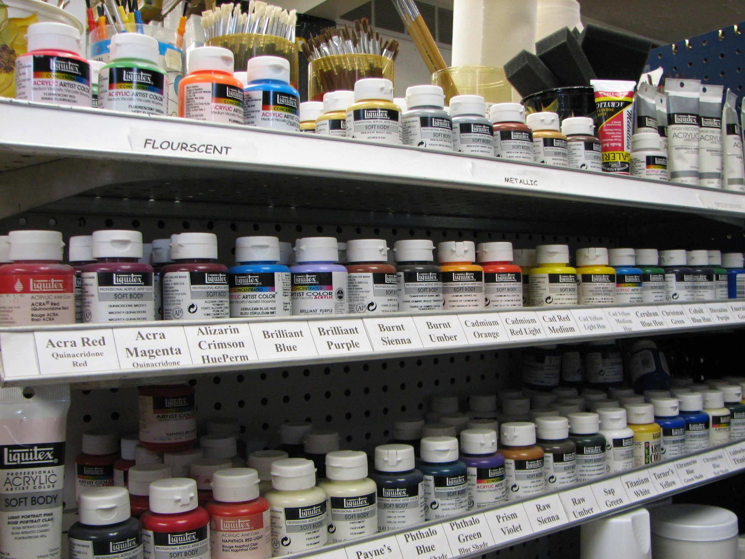 Liquitex paint in jars