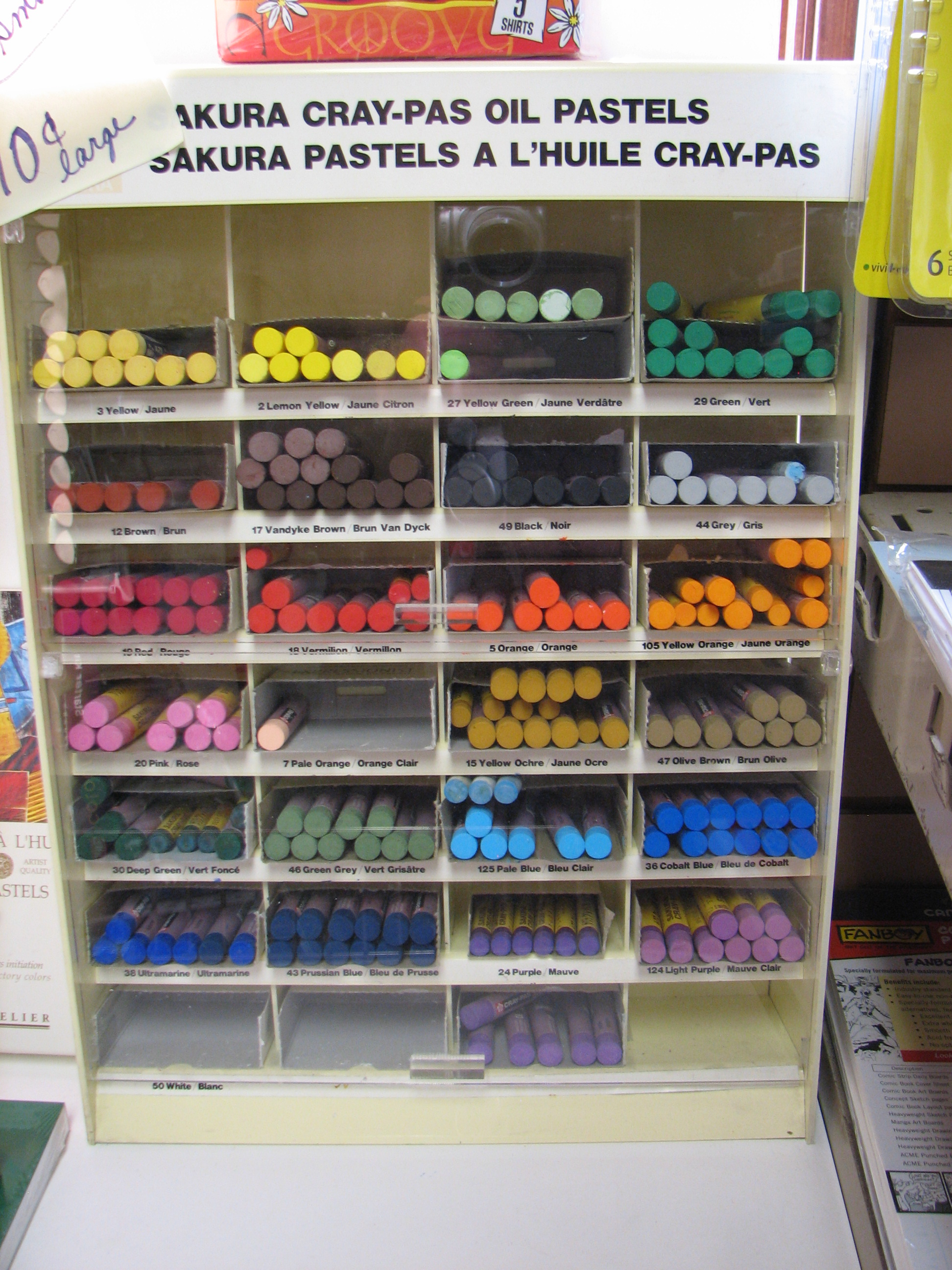 Oil pastel sets and individual sticks