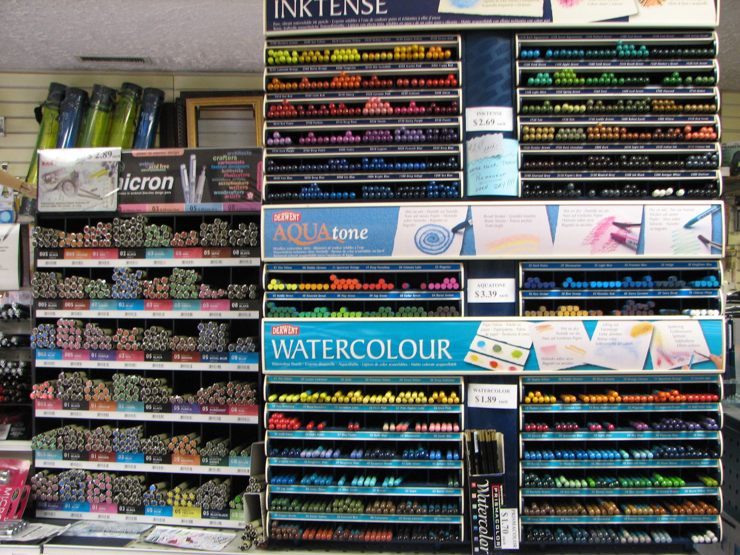 Derwent Inktense pencils and sets, Derwent Watercolor pencils and sets, Micron Markers and sets