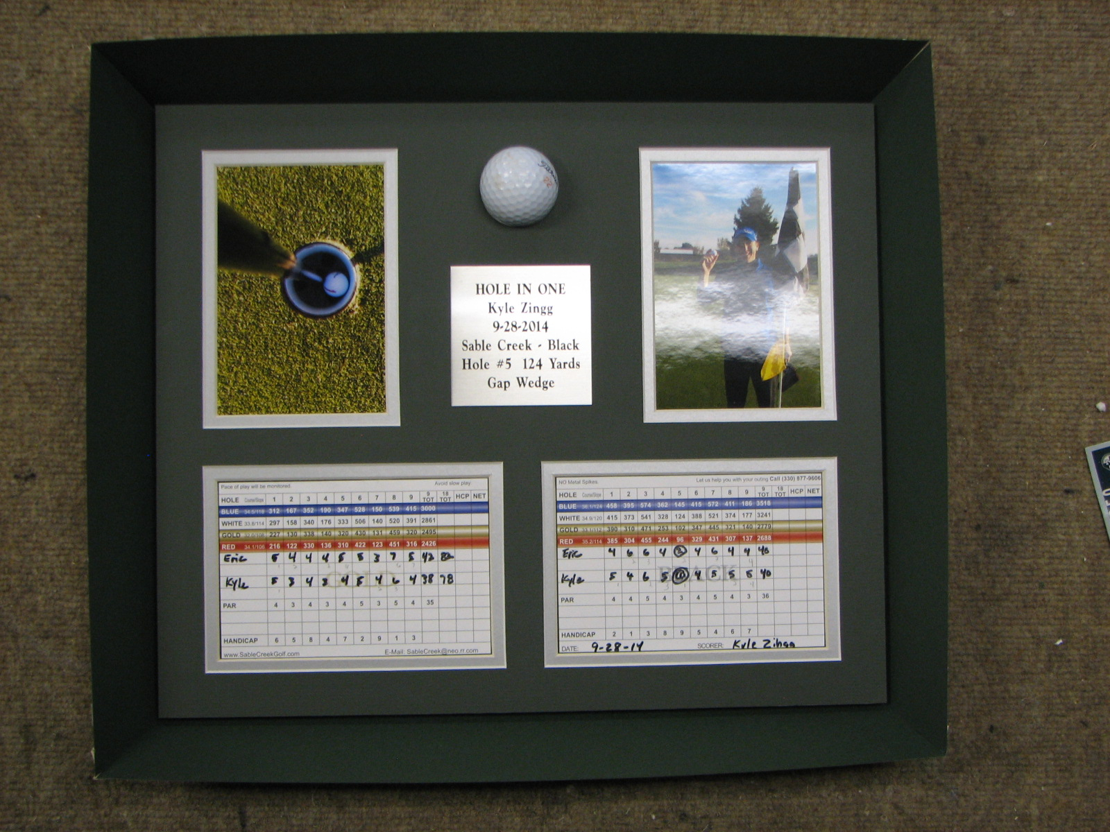 Hole in one with ball and score cards