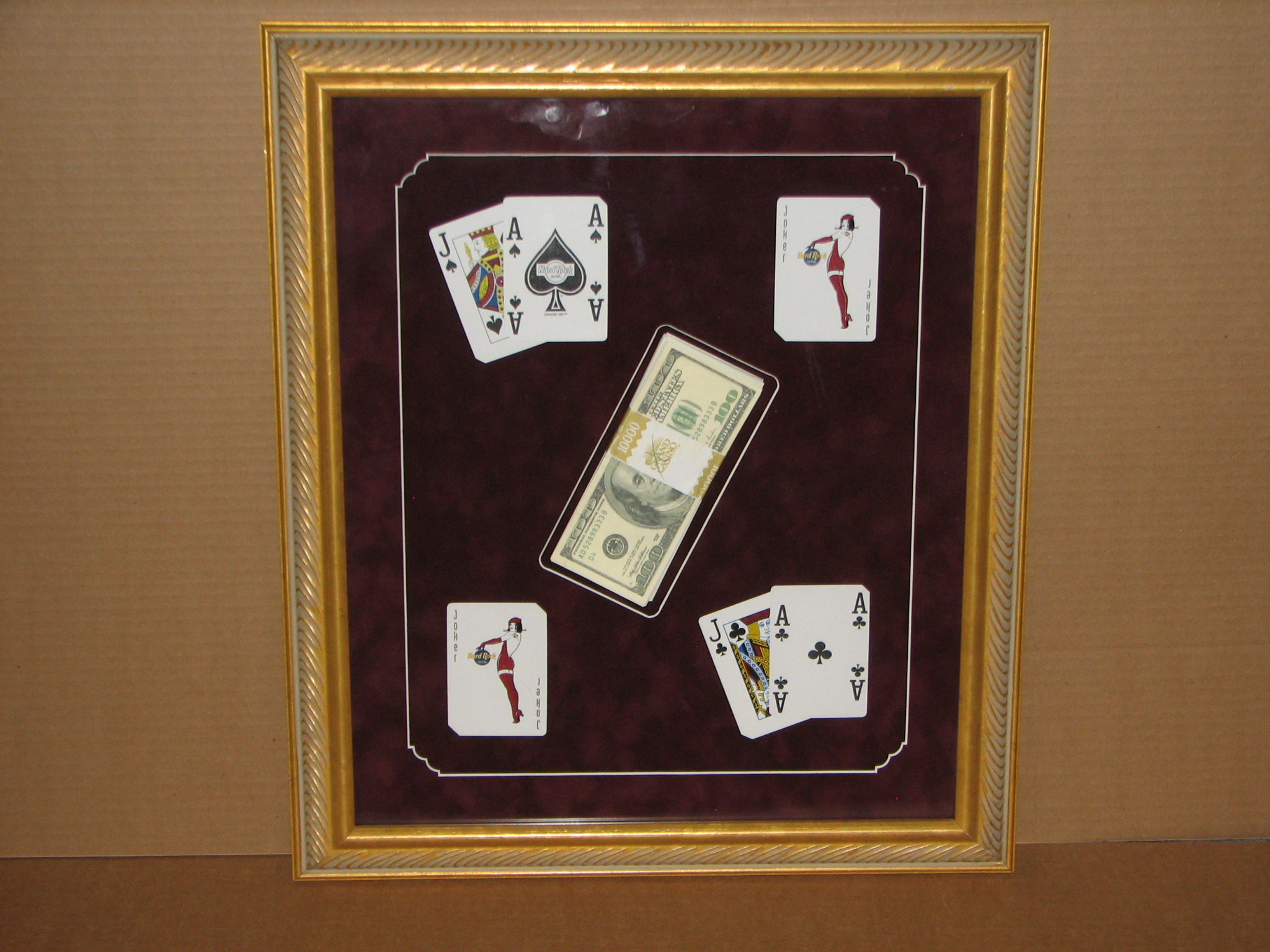 Grand Casino Money Band framed for customer who won $12,000.00 playing Black Jack