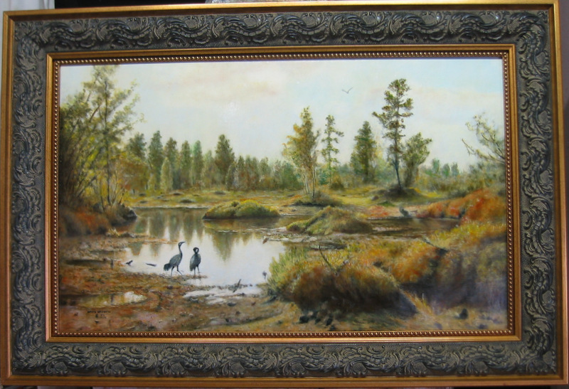 Frank Dale MARSH WITH HERONS after SHISHKIN 17 X 27 OIL ON CANVAS.JPG