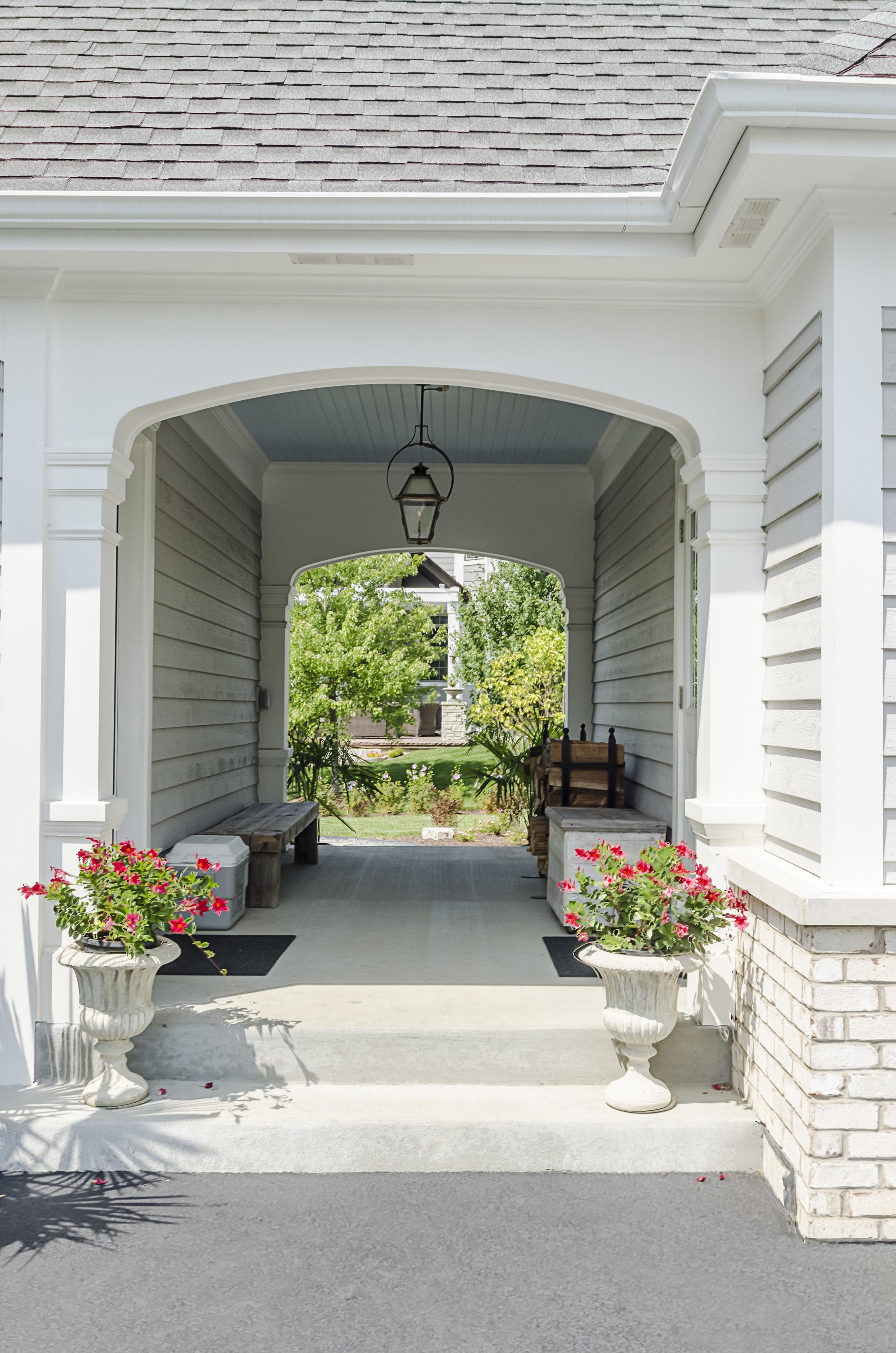Spring walkway in Geneva, Illinois. Home by Havlicek Builders.