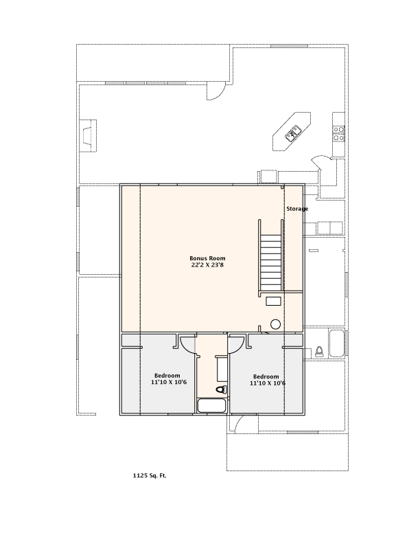 1125 Sq. Ft. Upstairs    Click above   to download & Print