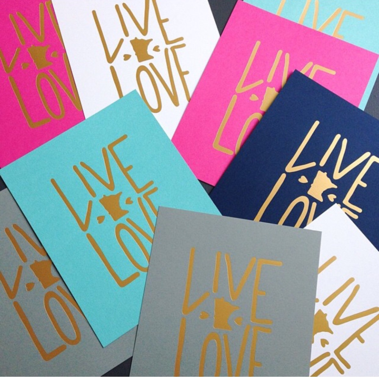8 x 10 Art print comes in 5 beautiful colors with a matte gold foil graphic. Navy, white, Aqua, hot pink and grey.