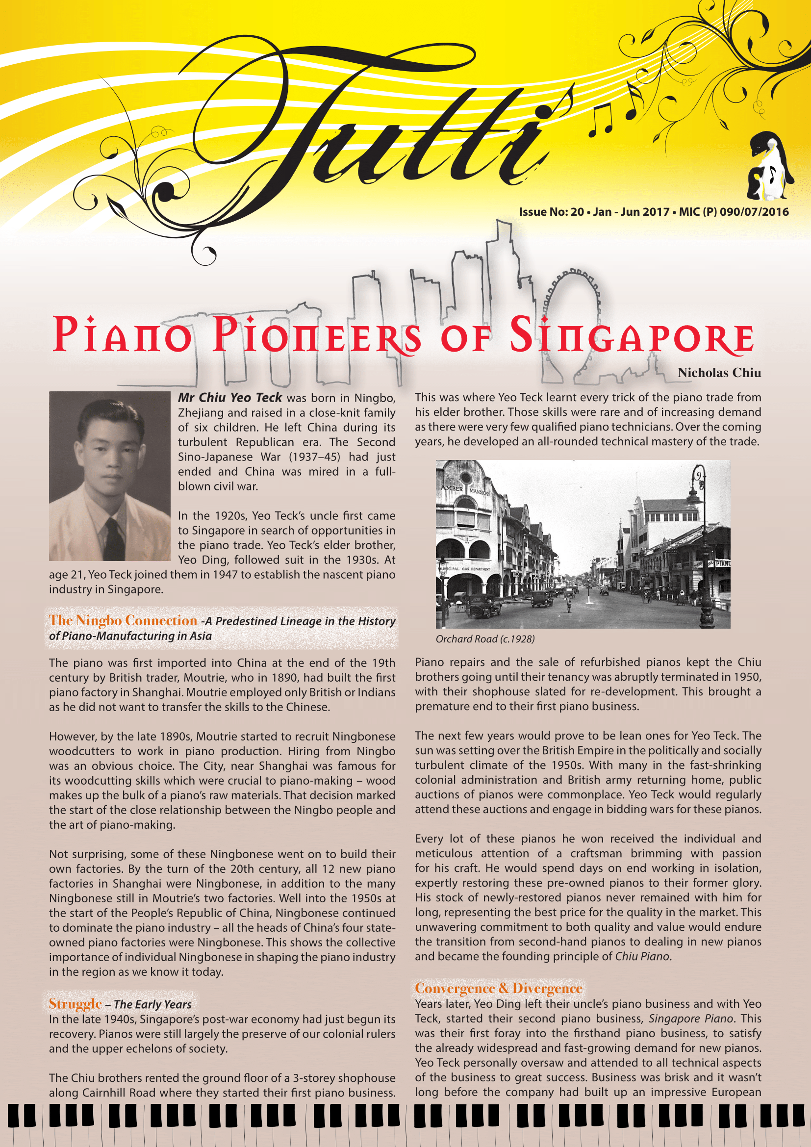 Piano Pioneers of Singapore; Part 1