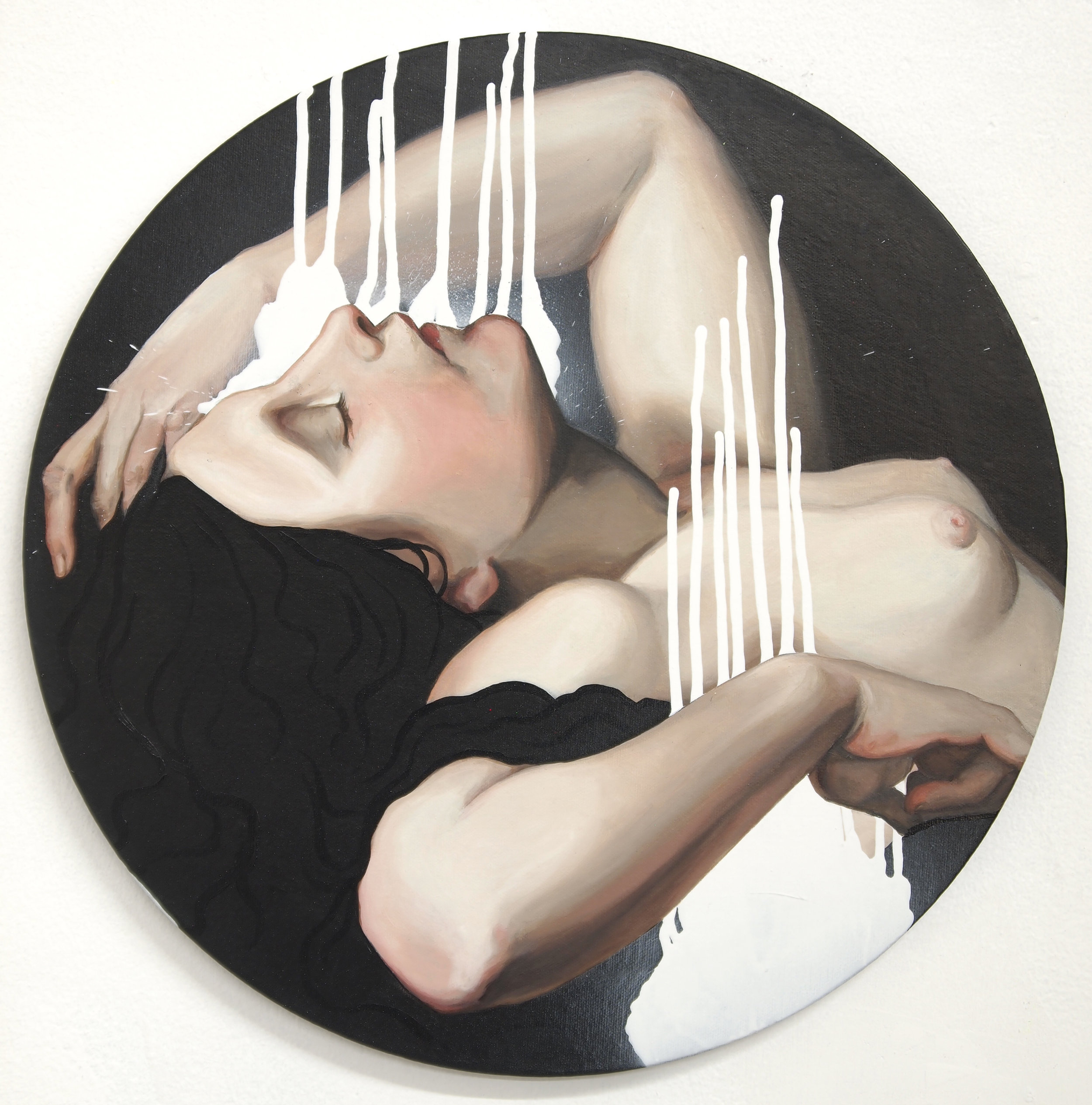 """Dusk. Acrylic and spray paint on canvas. 16x16""""."""