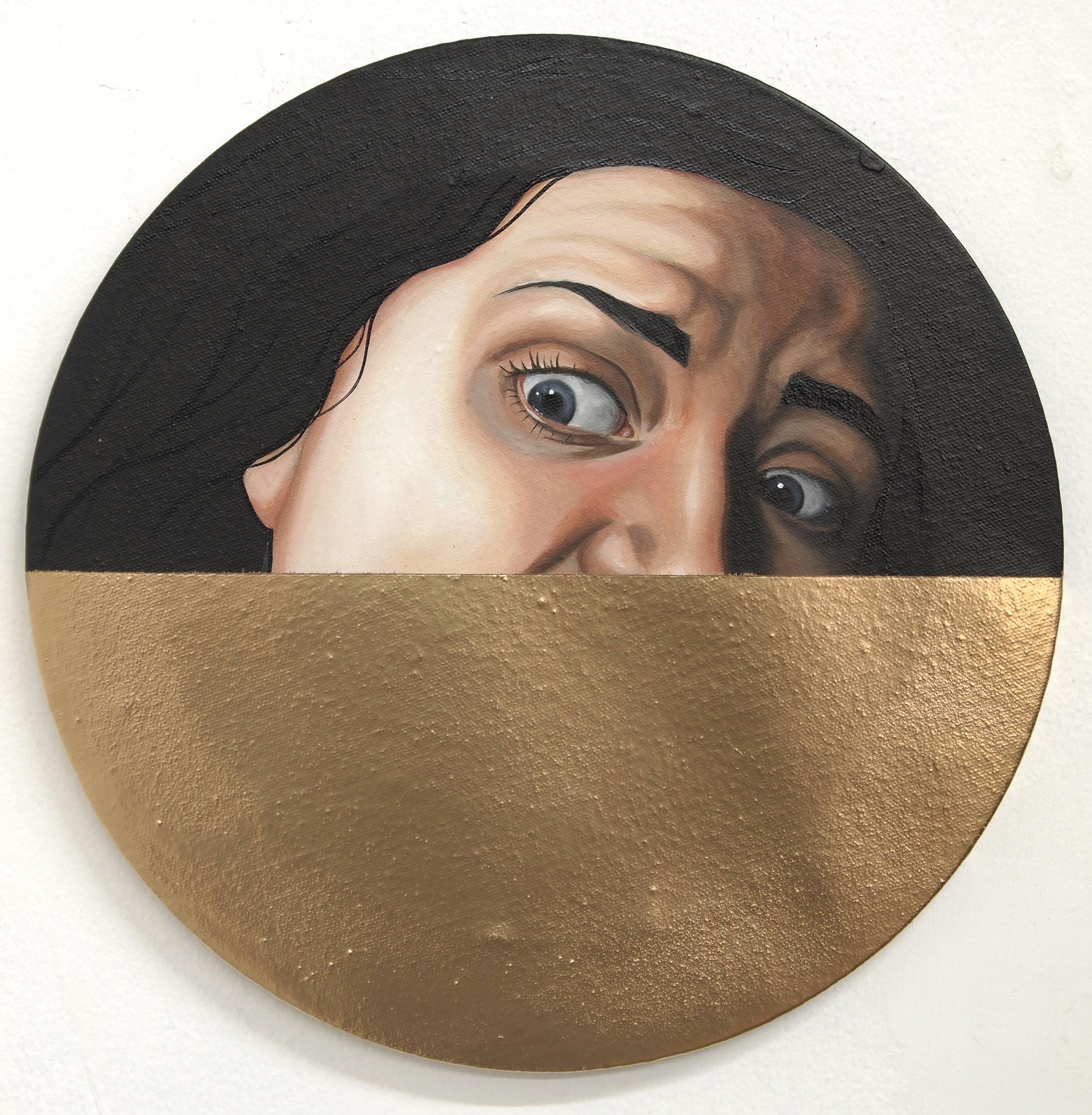 """Medusa. Acrylic and spray paint on canvas. 12x12""""."""