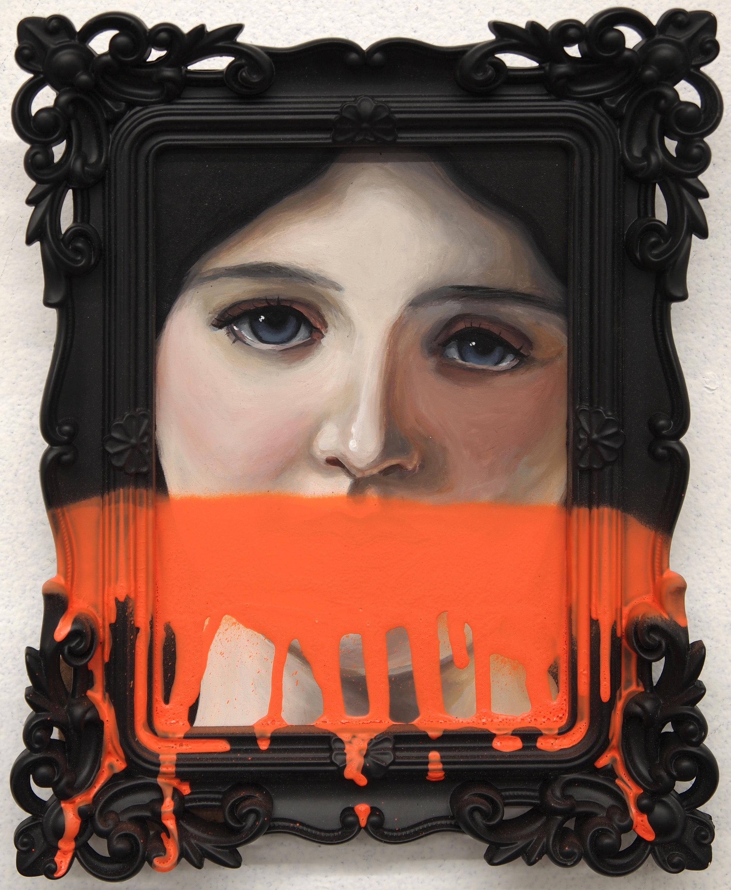 Taciturn. Acrylic and spray paint on frame.