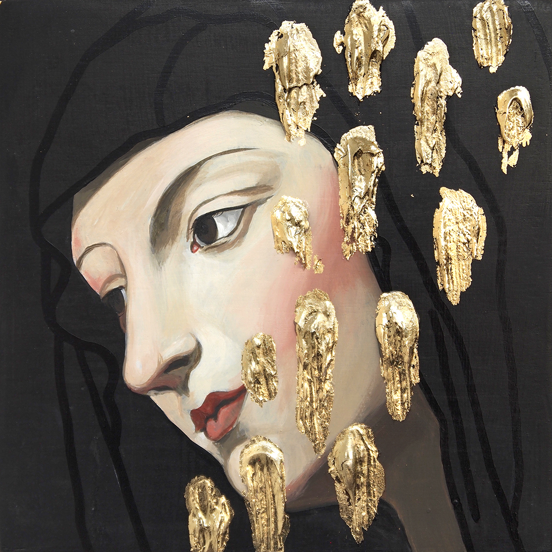 "Amici. Acrylic and gold leaf on wood panel. 6x6""."