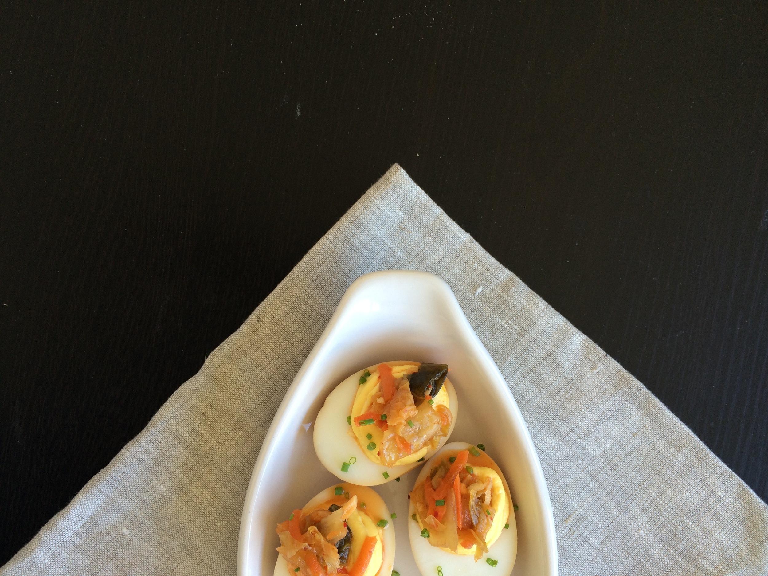 Kimchi Deviled Eggs
