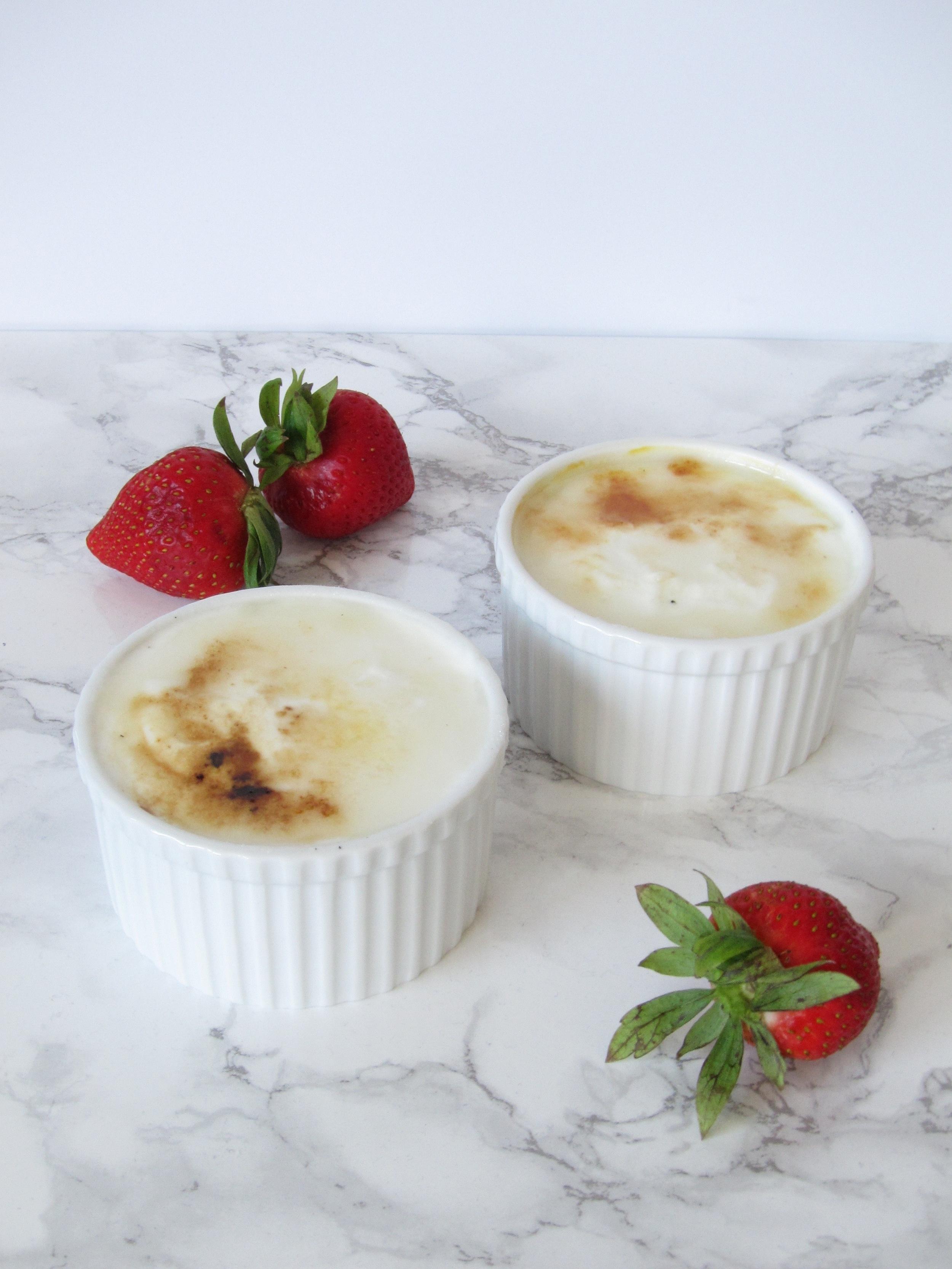 Bruleed Yogurt with Vanilla Rhubarb Compote