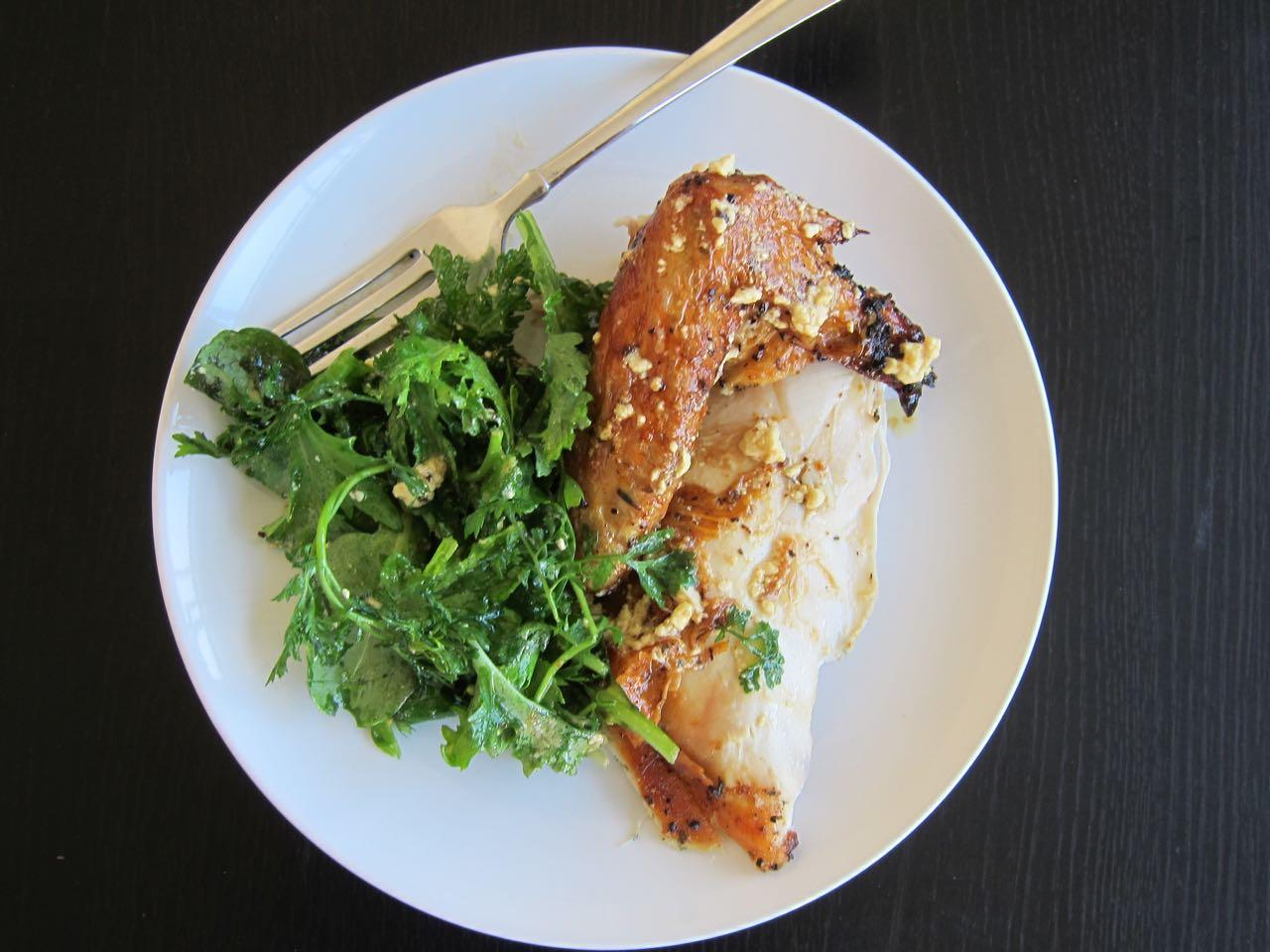 Feta Brined Roast Chicken and Greens