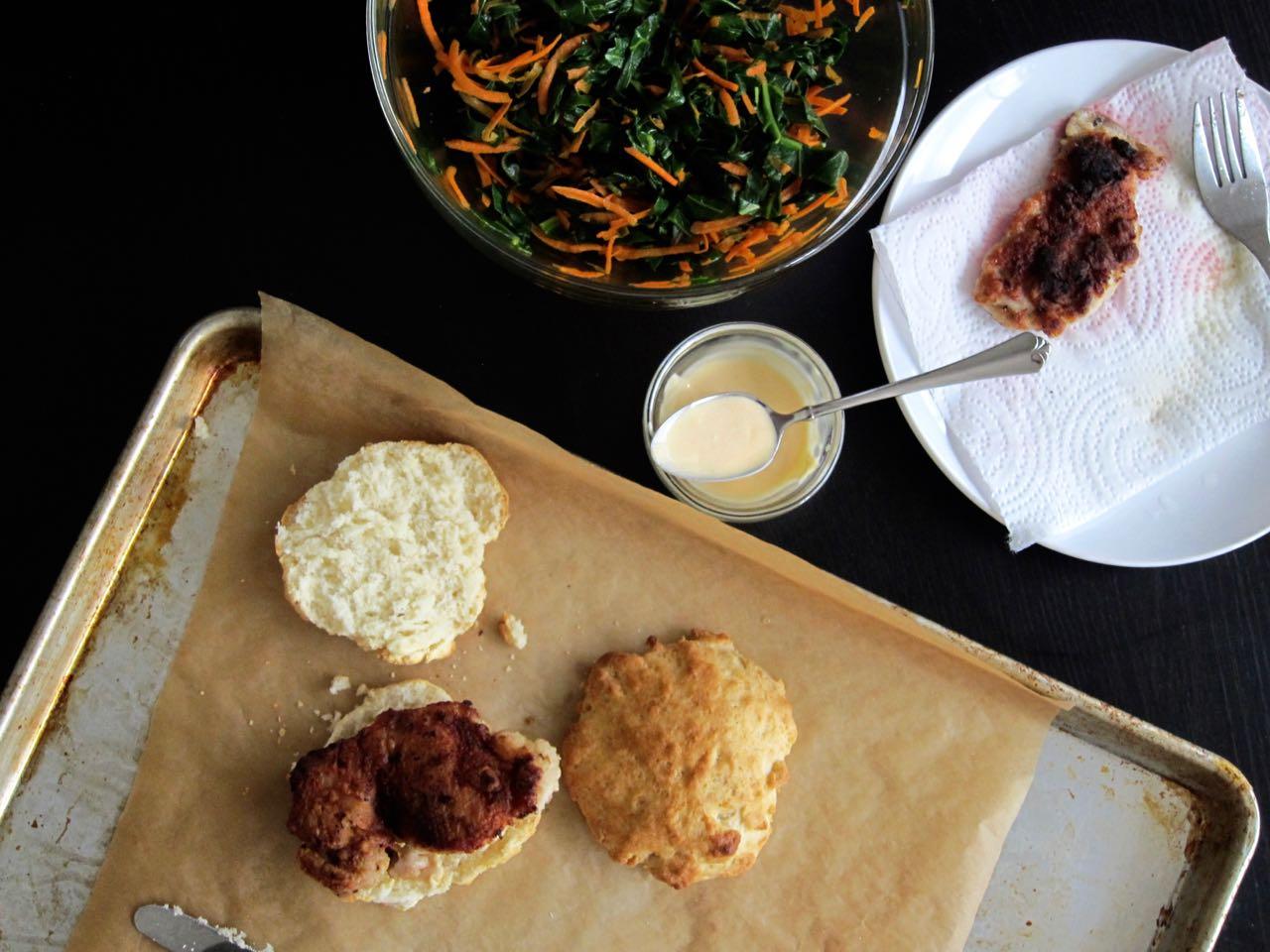 Building a fried chicken biscuit sandwich