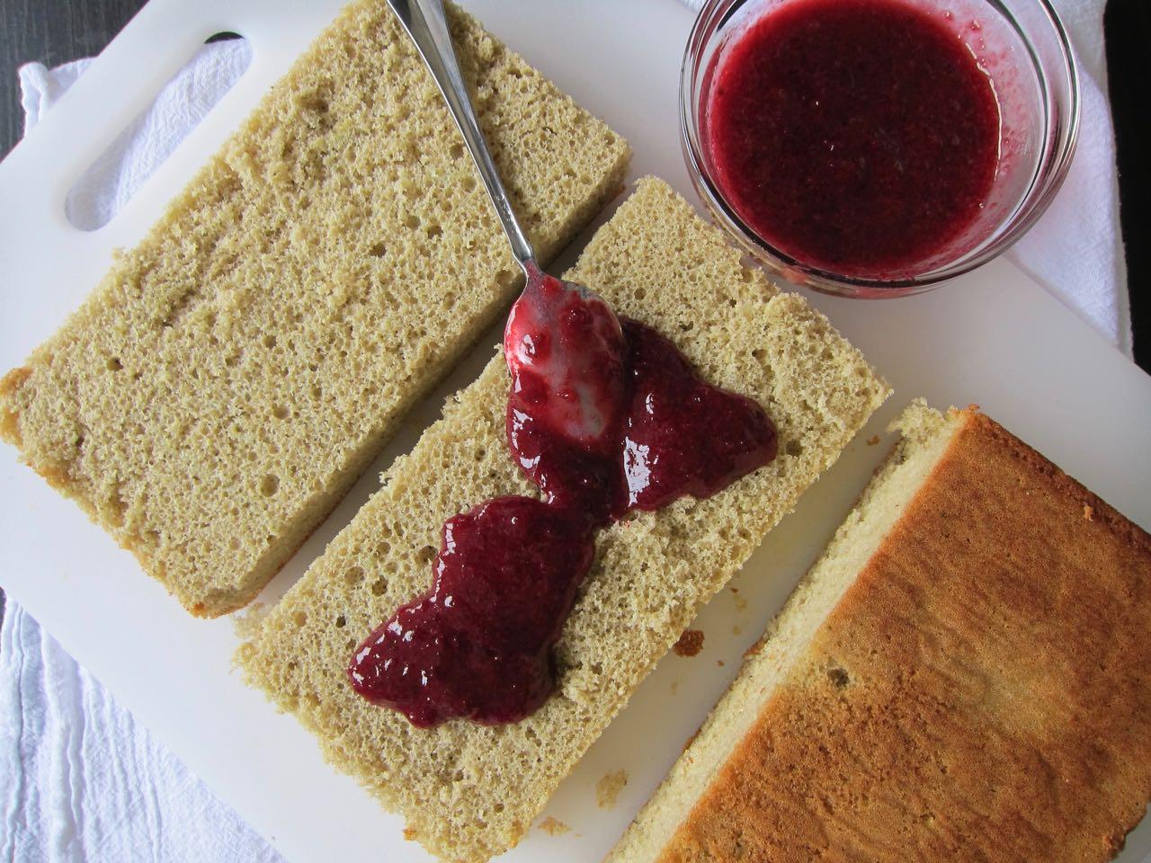 Cherry Jam Filled Matcha Lamington