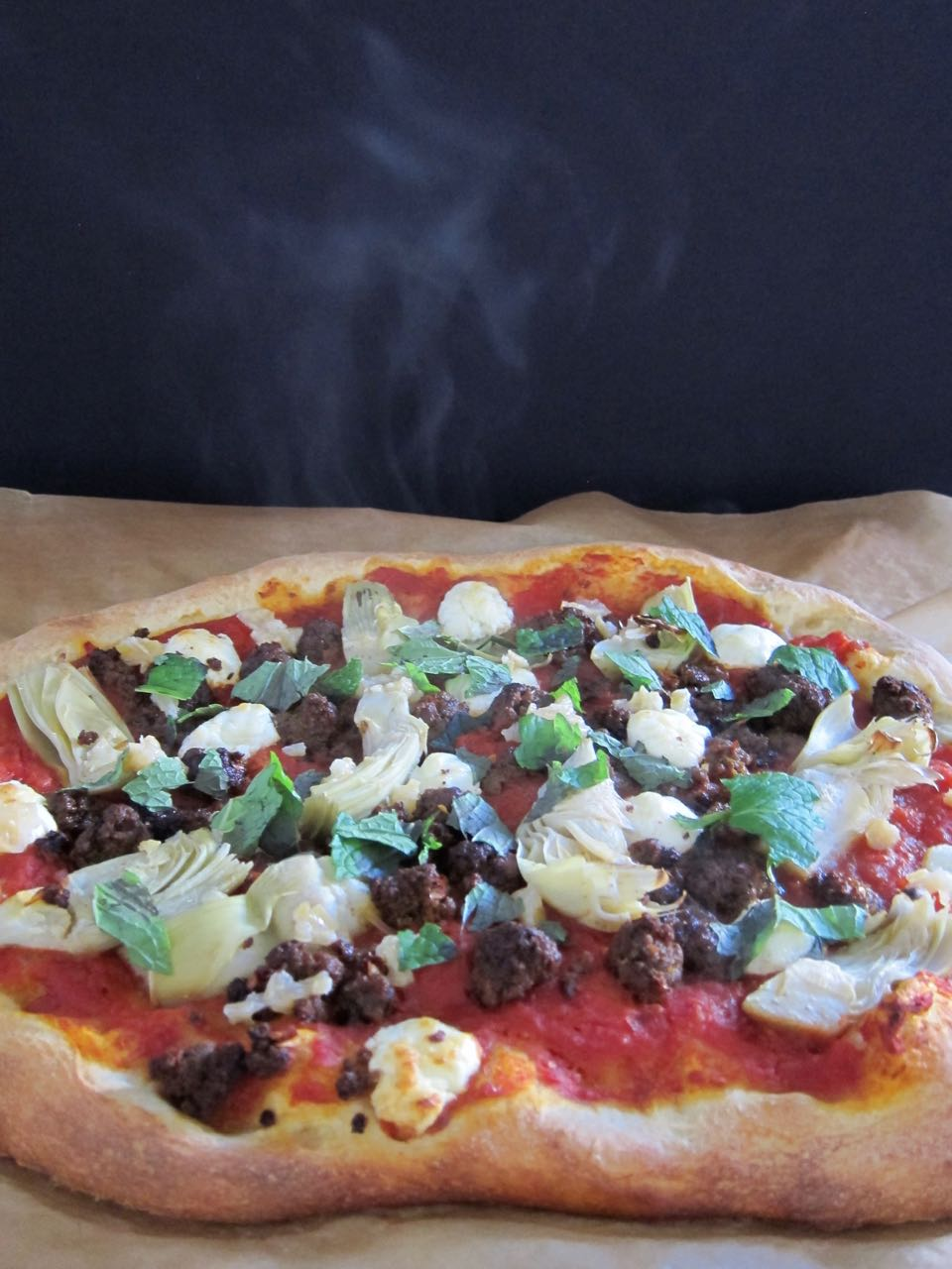Merguez Pizza with the works