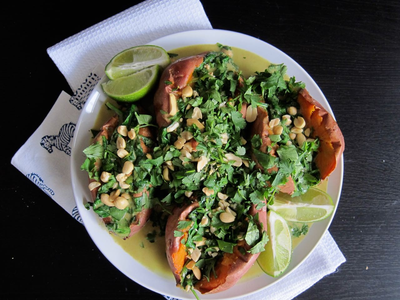 Green Curry Baked Sweet Potatoes